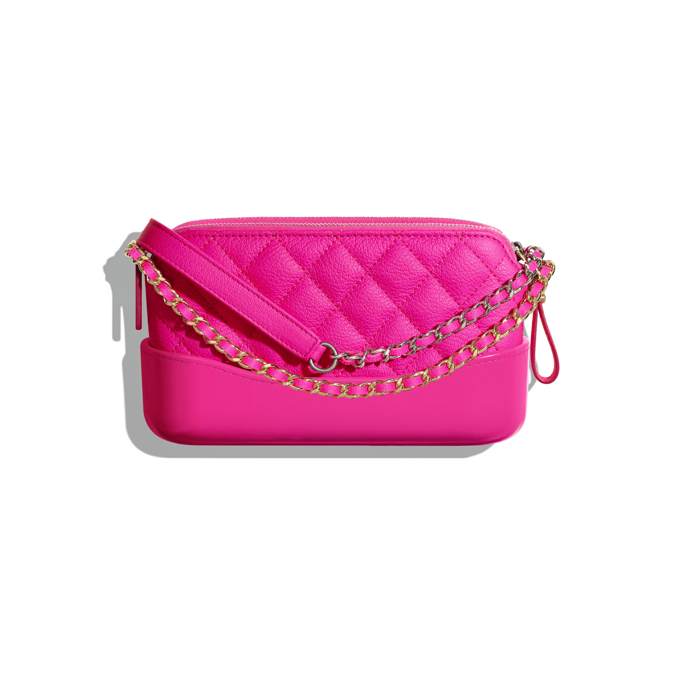 Clutch With Chain - Pink - Goatskin, Gold-Tone & Silver-Tone Metal - CHANEL - Alternative view - see standard sized version