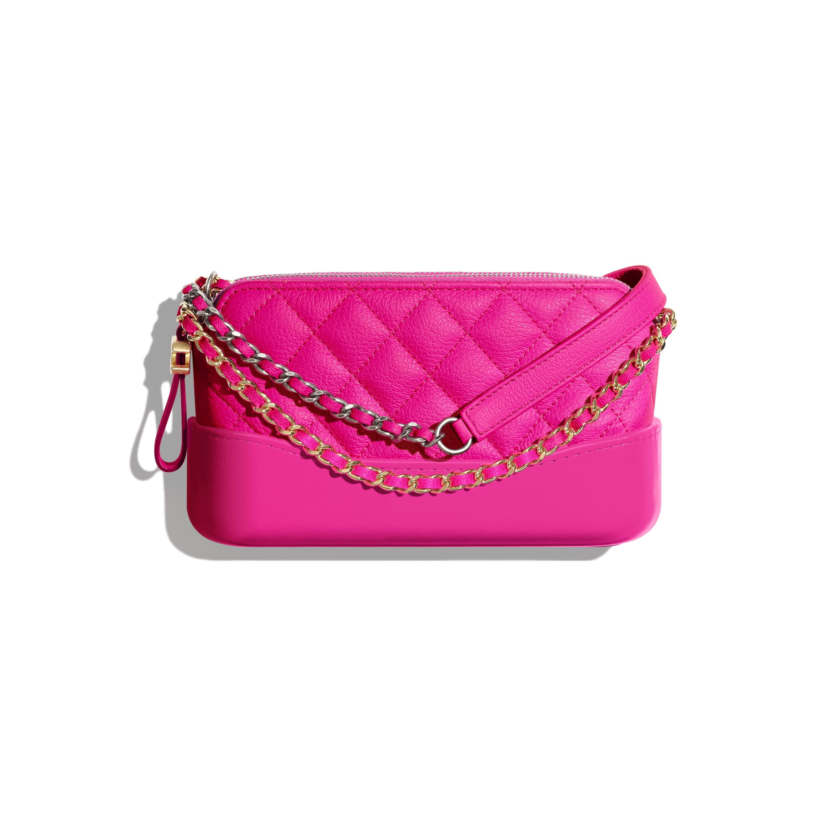 Clutch With Chain - Pink - Goatskin, Gold-Tone & Silver-Tone Metal - CHANEL - Default view - see standard sized version