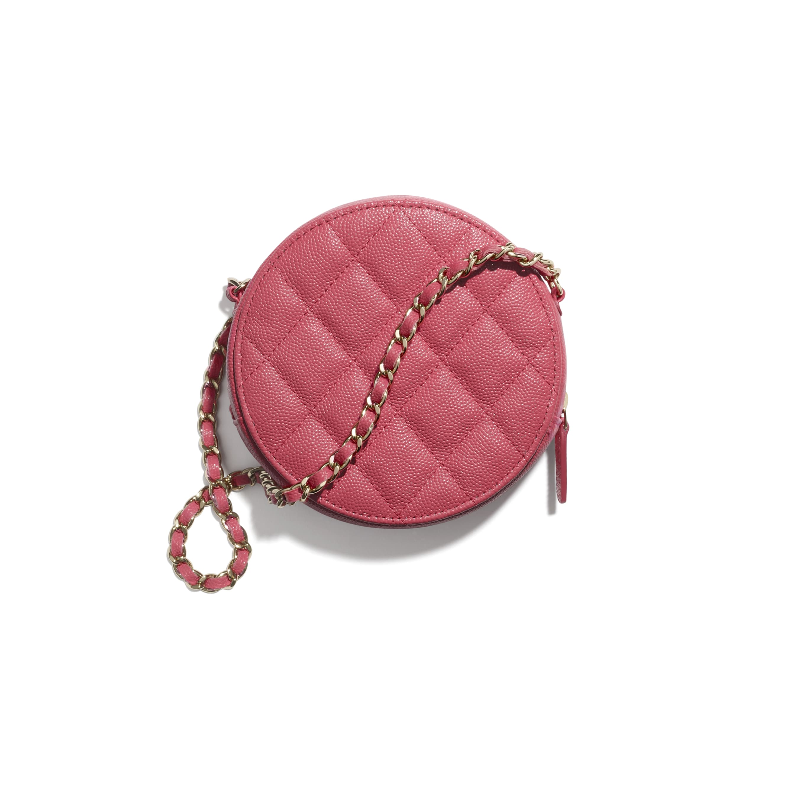 Clutch With Chain - Pink - Grained Calfskin & Gold-Tone Metal - CHANEL - Alternative view - see standard sized version