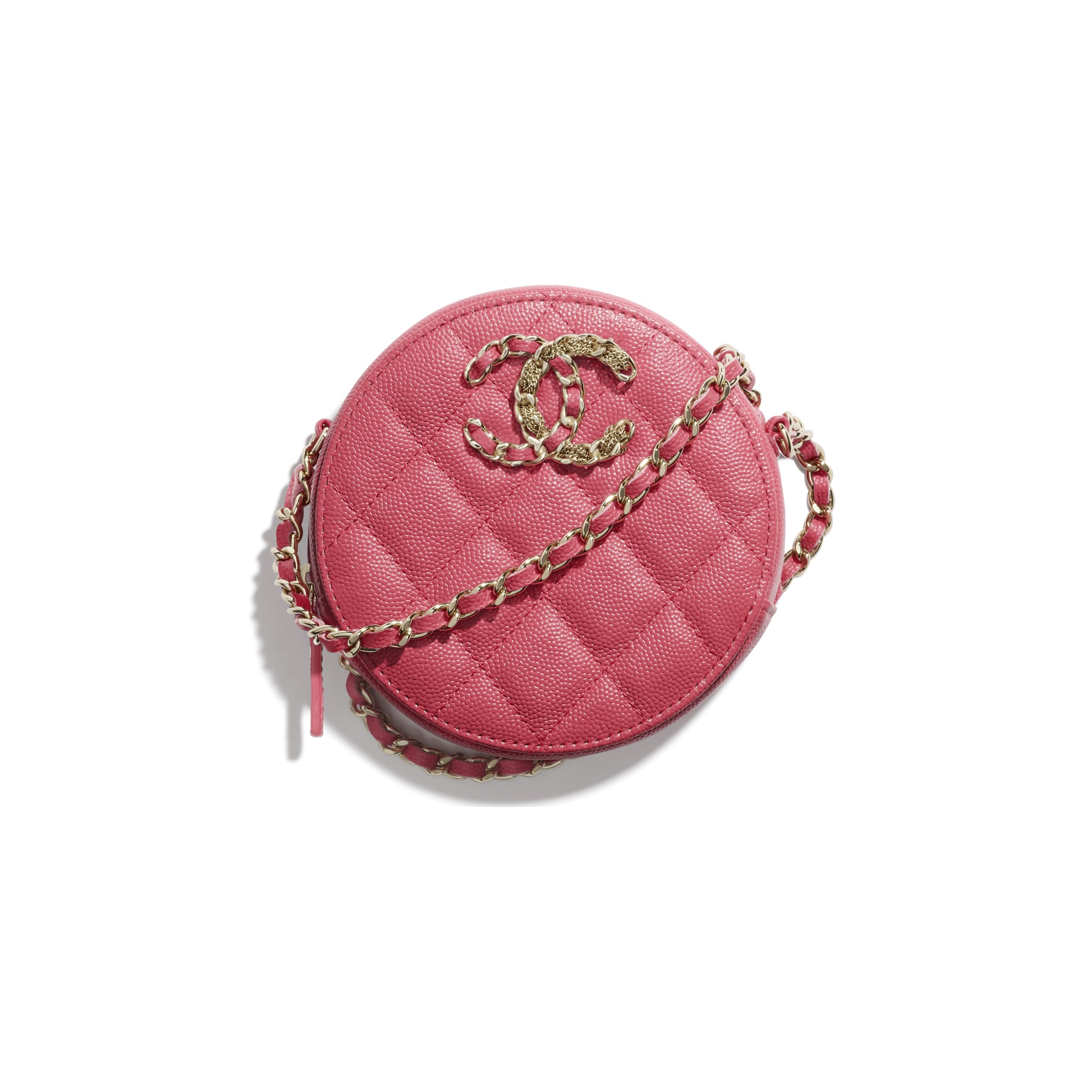 Clutch With Chain - Pink - Grained Calfskin & Gold-Tone Metal - CHANEL - Default view - see standard sized version