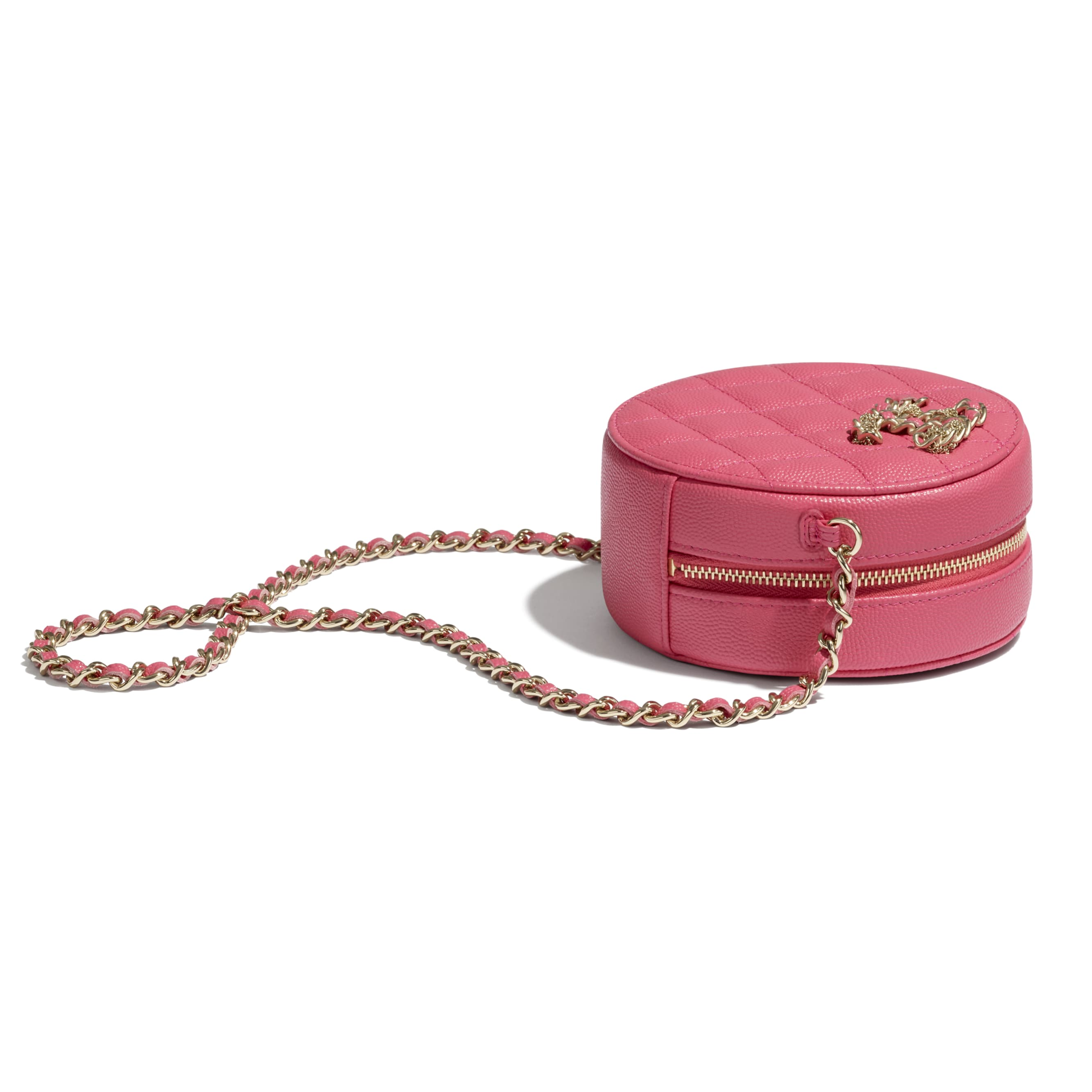 Clutch With Chain - Pink - Grained Calfskin & Gold-Tone Metal - CHANEL - Extra view - see standard sized version