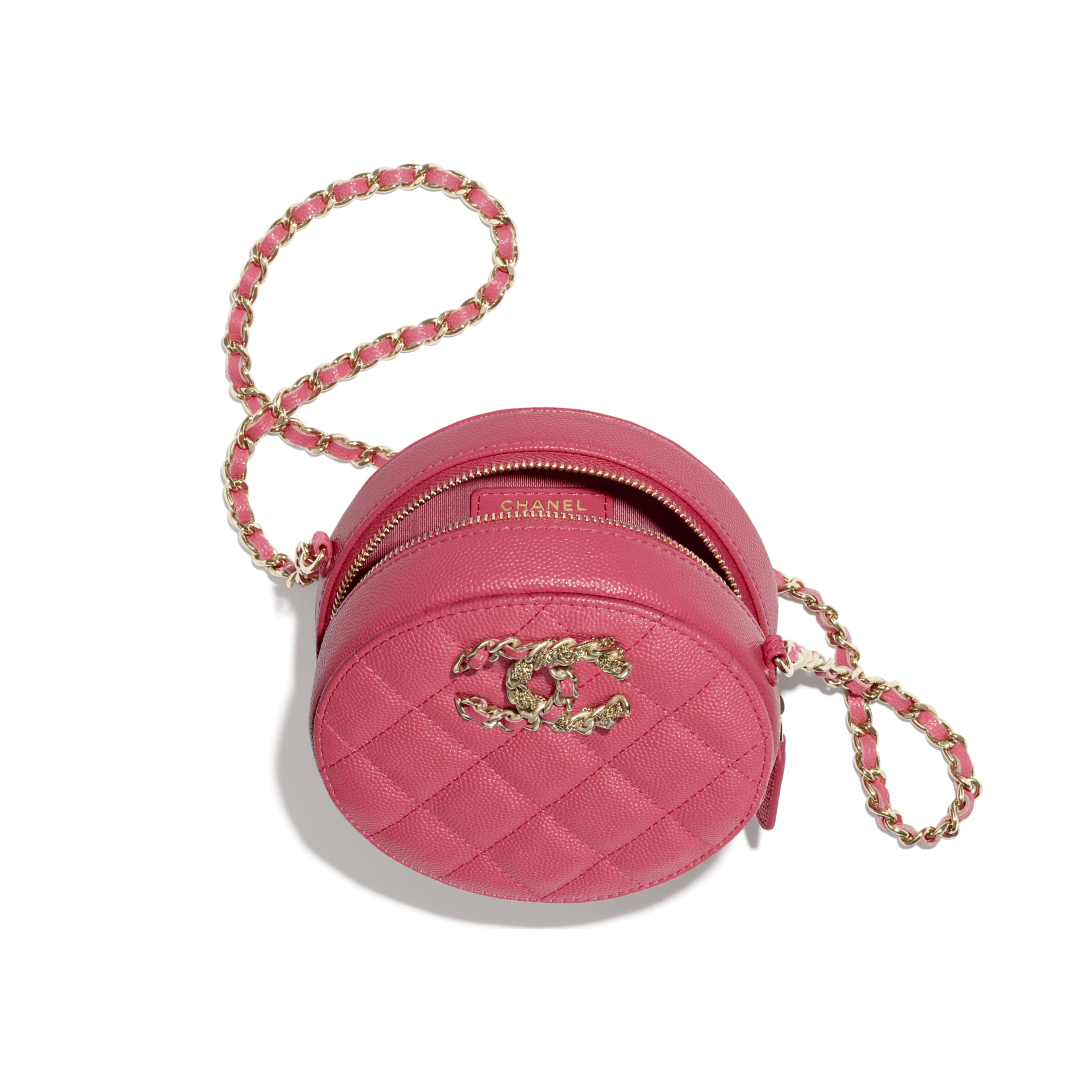 Clutch With Chain - Pink - Grained Calfskin & Gold-Tone Metal - CHANEL - Other view - see standard sized version
