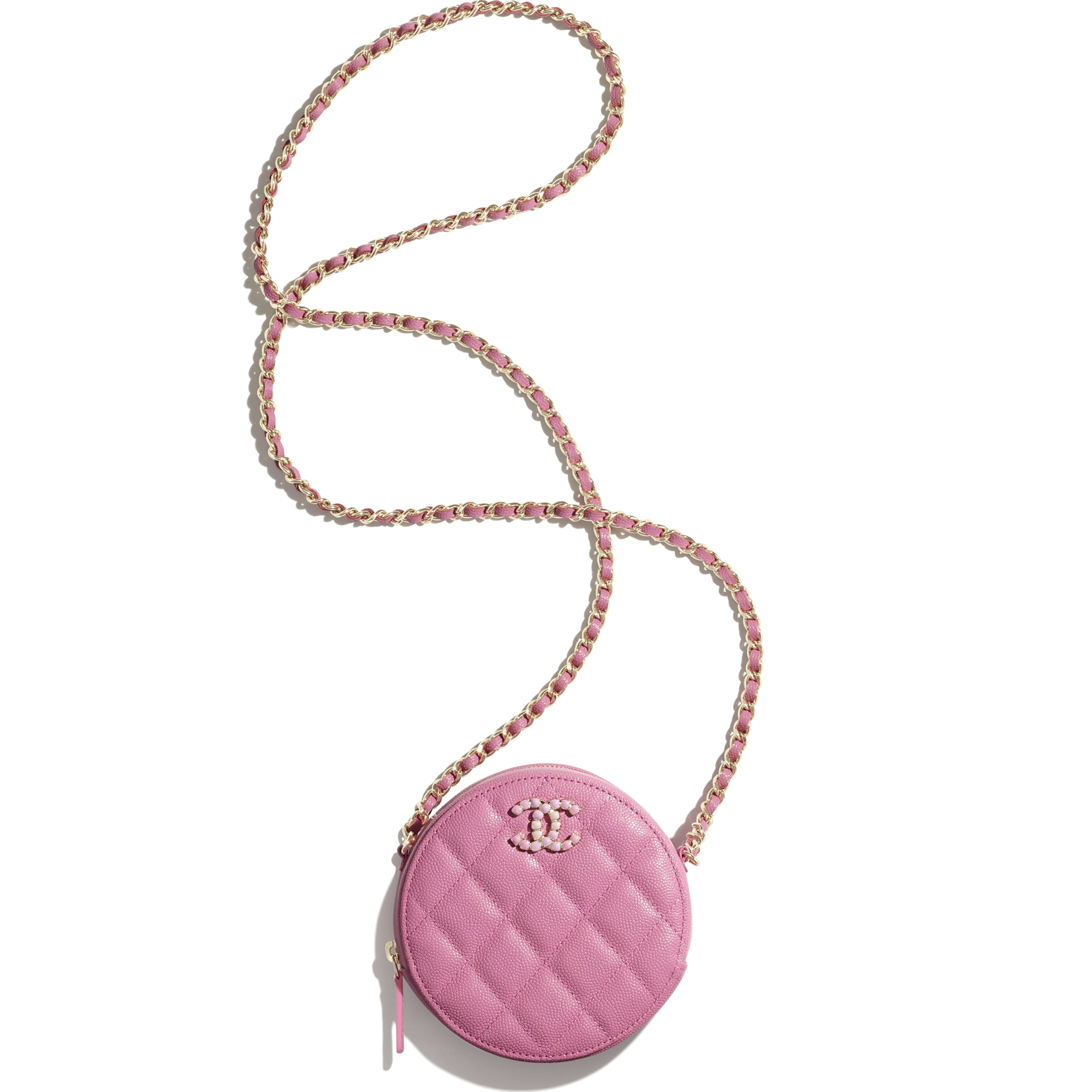Clutch With Chain - Pink - Grained Calfskin & Laquered Gold-Tone Metal - CHANEL - Alternative view - see standard sized version