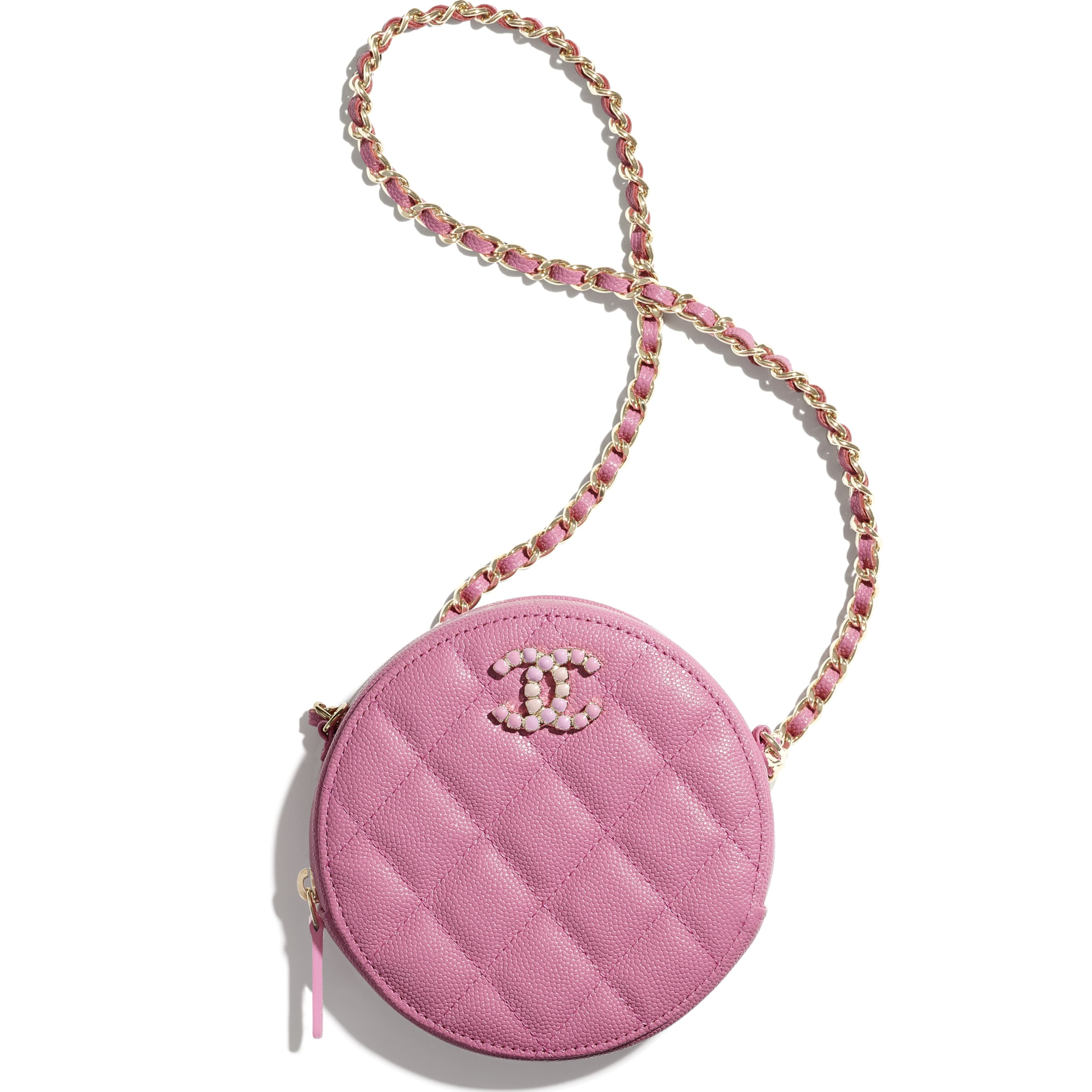 Clutch With Chain - Pink - Grained Calfskin & Laquered Gold-Tone Metal - CHANEL - Default view - see standard sized version