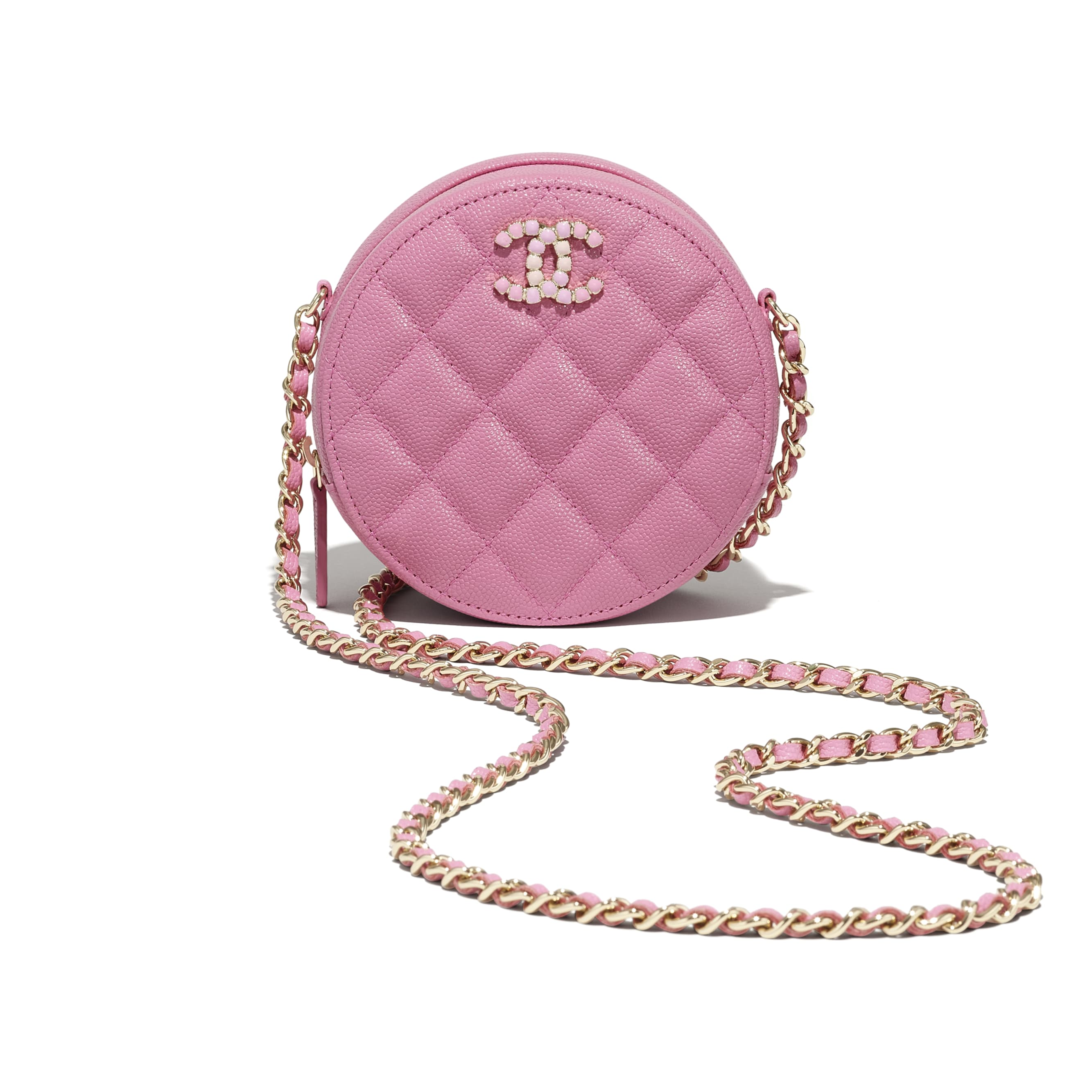 Clutch With Chain - Pink - Grained Calfskin & Laquered Gold-Tone Metal - CHANEL - Extra view - see standard sized version