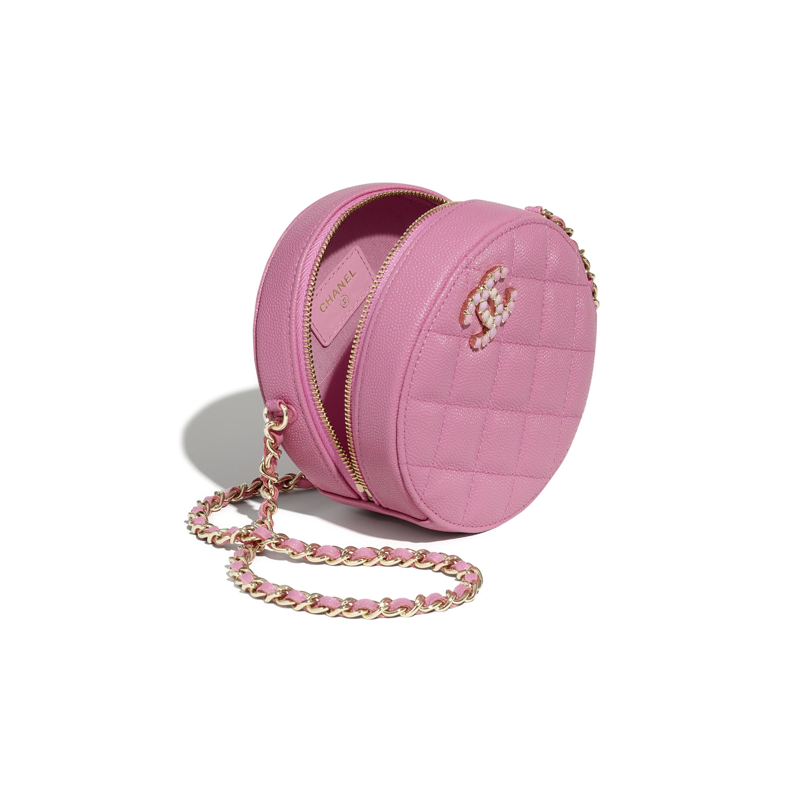 Clutch With Chain - Pink - Grained Calfskin & Laquered Gold-Tone Metal - CHANEL - Other view - see standard sized version