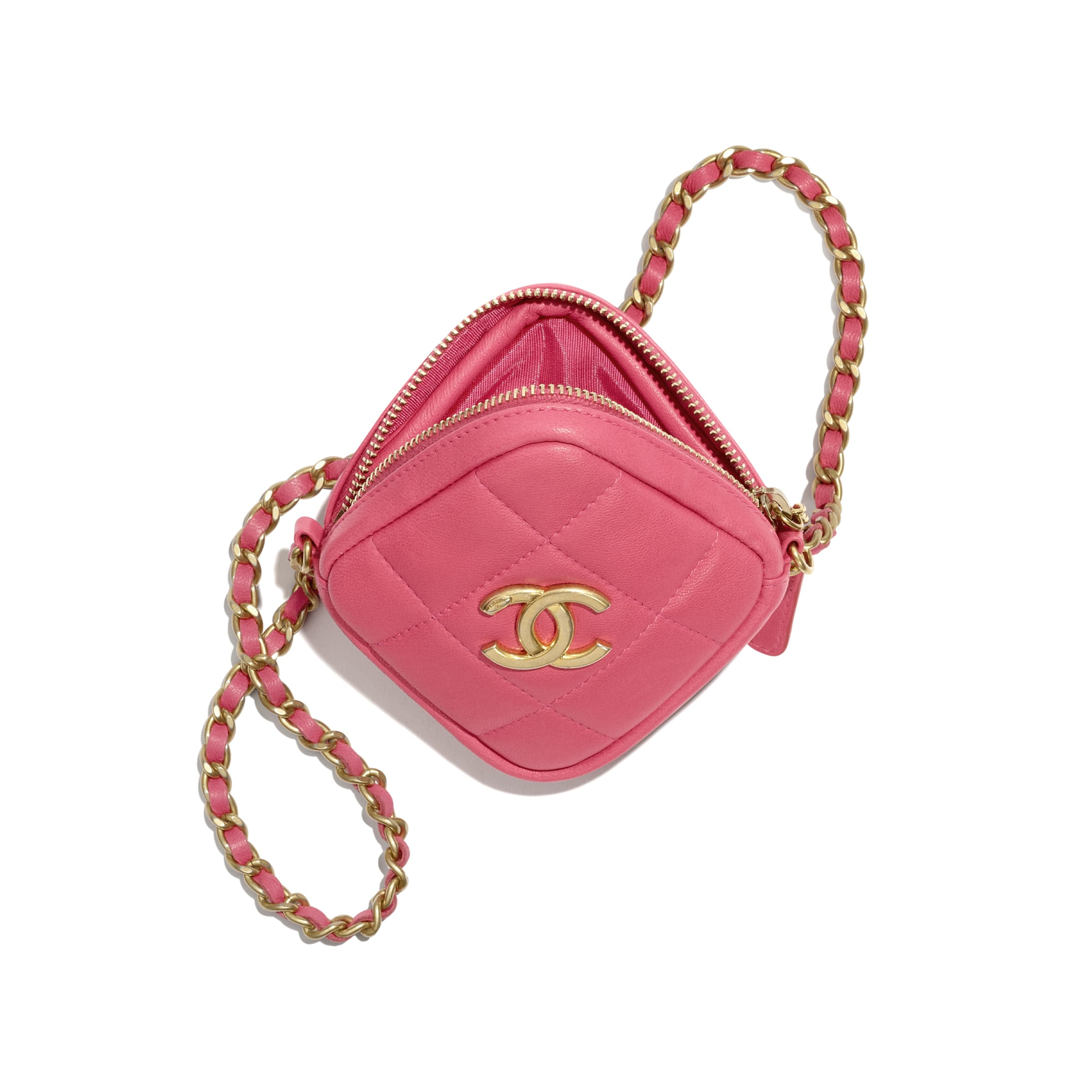 Clutch With Chain - Pink - Lambskin - CHANEL - Alternative view - see standard sized version