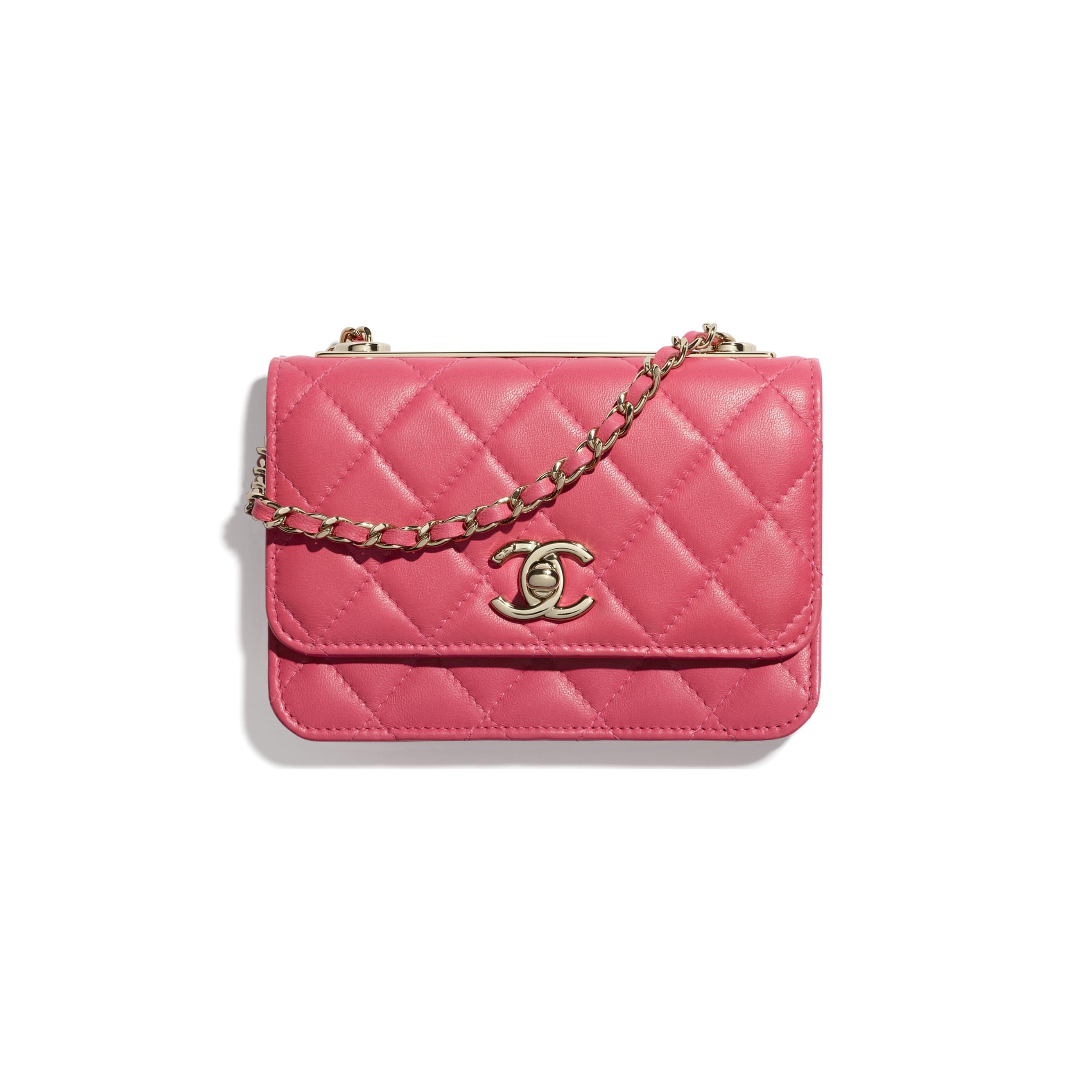 Bolso de mano con cadena - Rosa - Piel de cordero y metal dorado - CHANEL - Vista por defecto - ver la versión tamaño estándar
