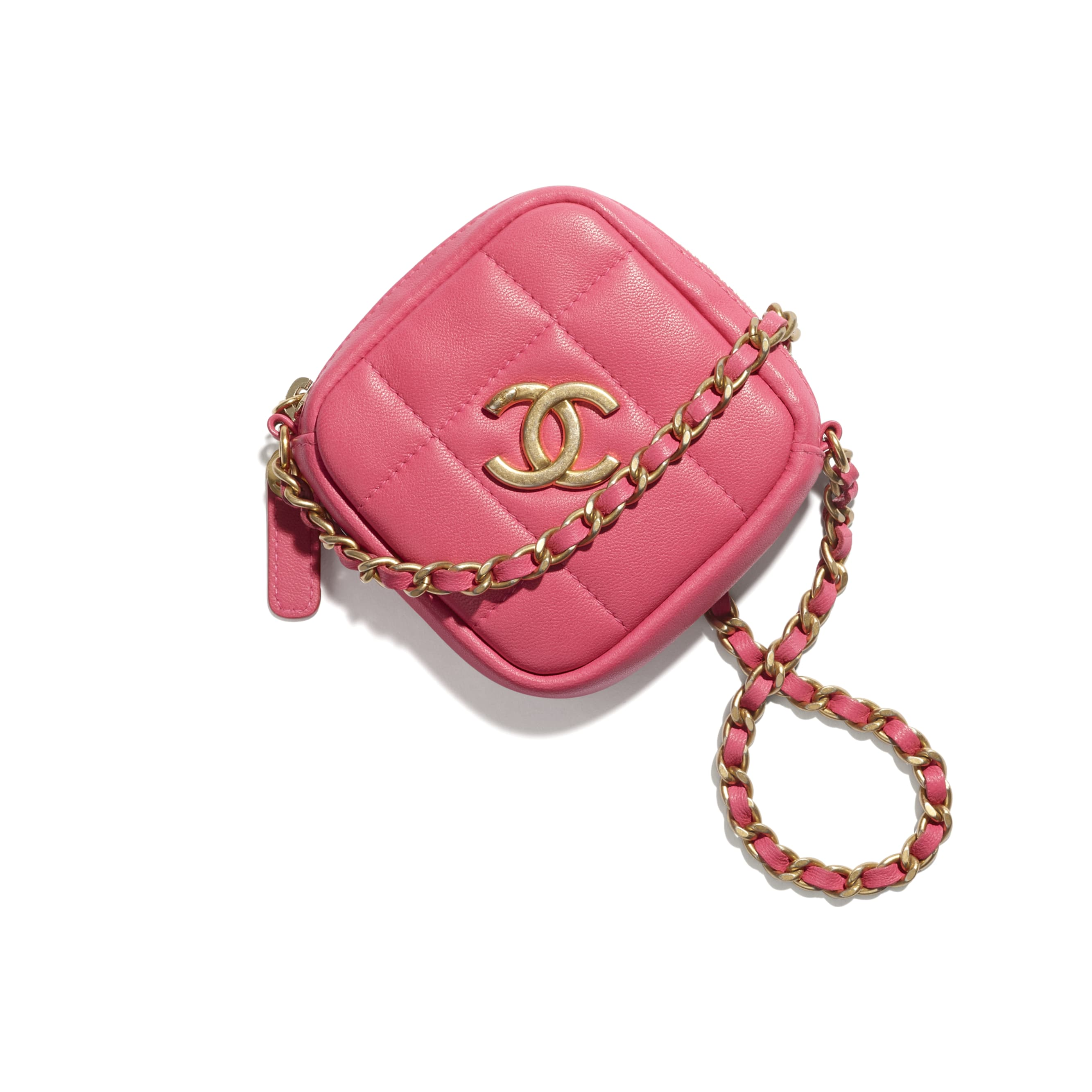Clutch With Chain - Pink - Lambskin - CHANEL - Default view - see standard sized version