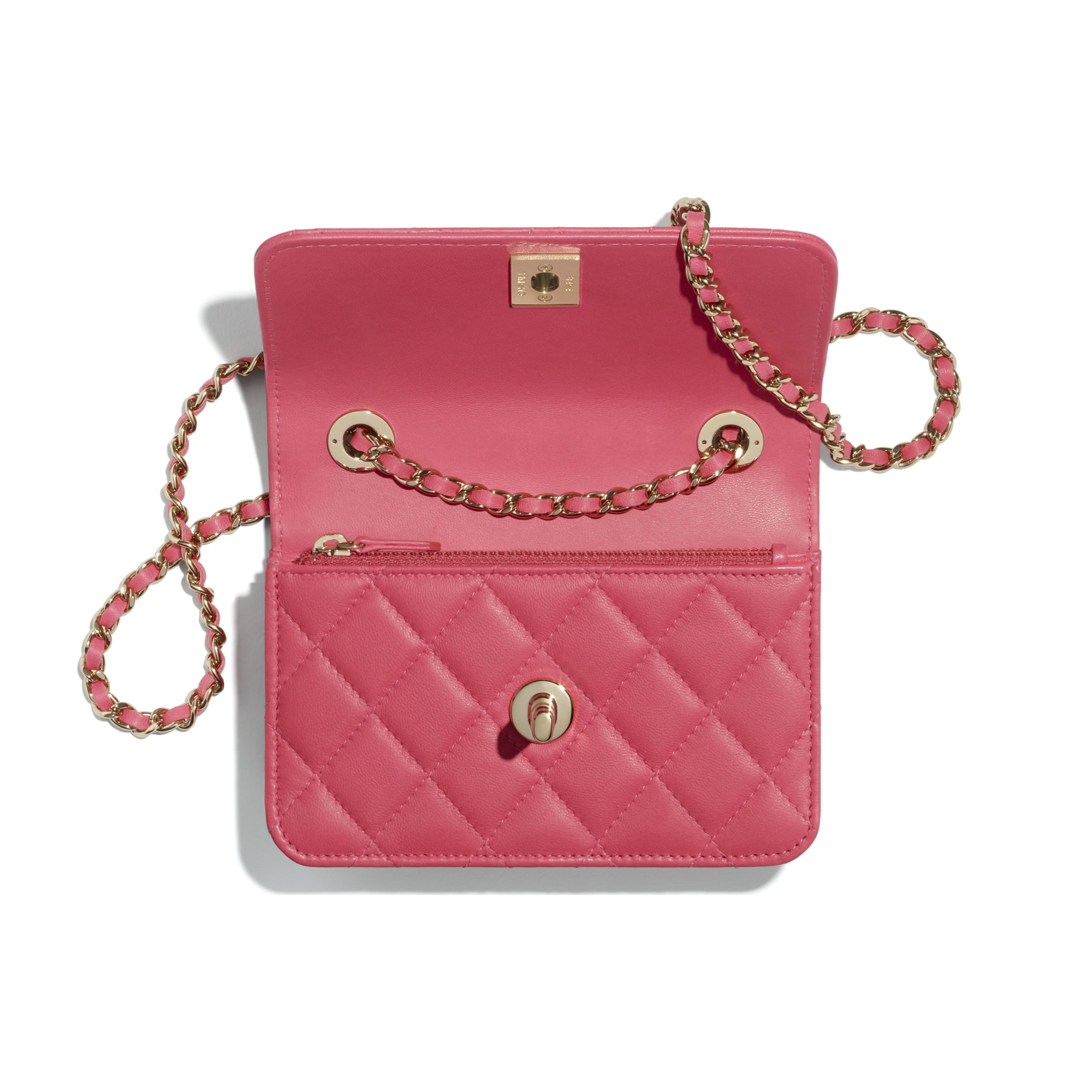 Bolso de mano con cadena - Rosa - Piel de cordero y metal dorado - CHANEL - Otra vista - ver la versión tamaño estándar