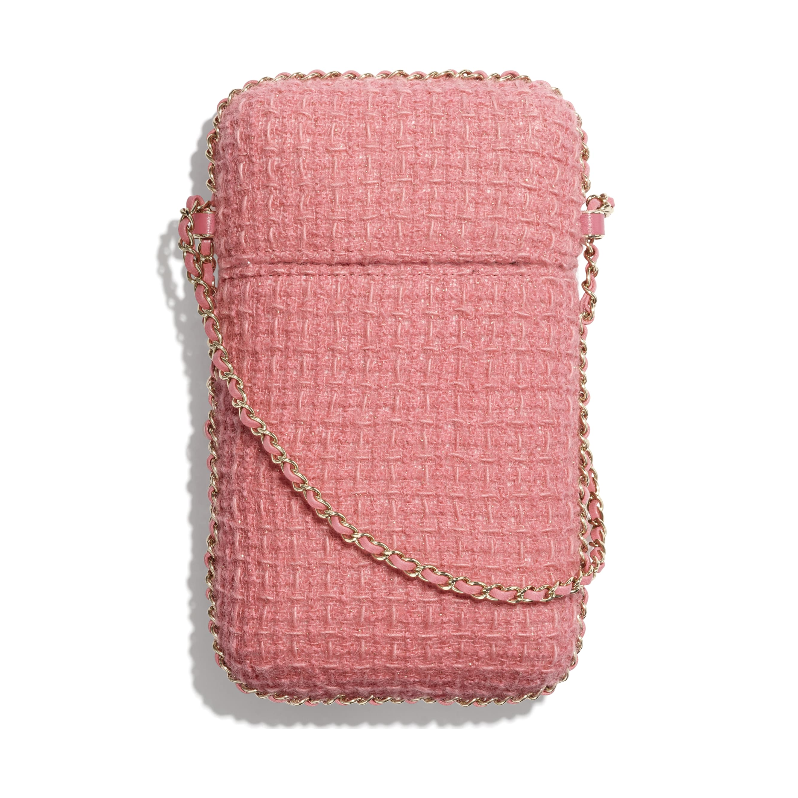 Clutch with Chain - Pink - Wool Tweed & Gold-Tone Metal - CHANEL - Alternative view - see standard sized version