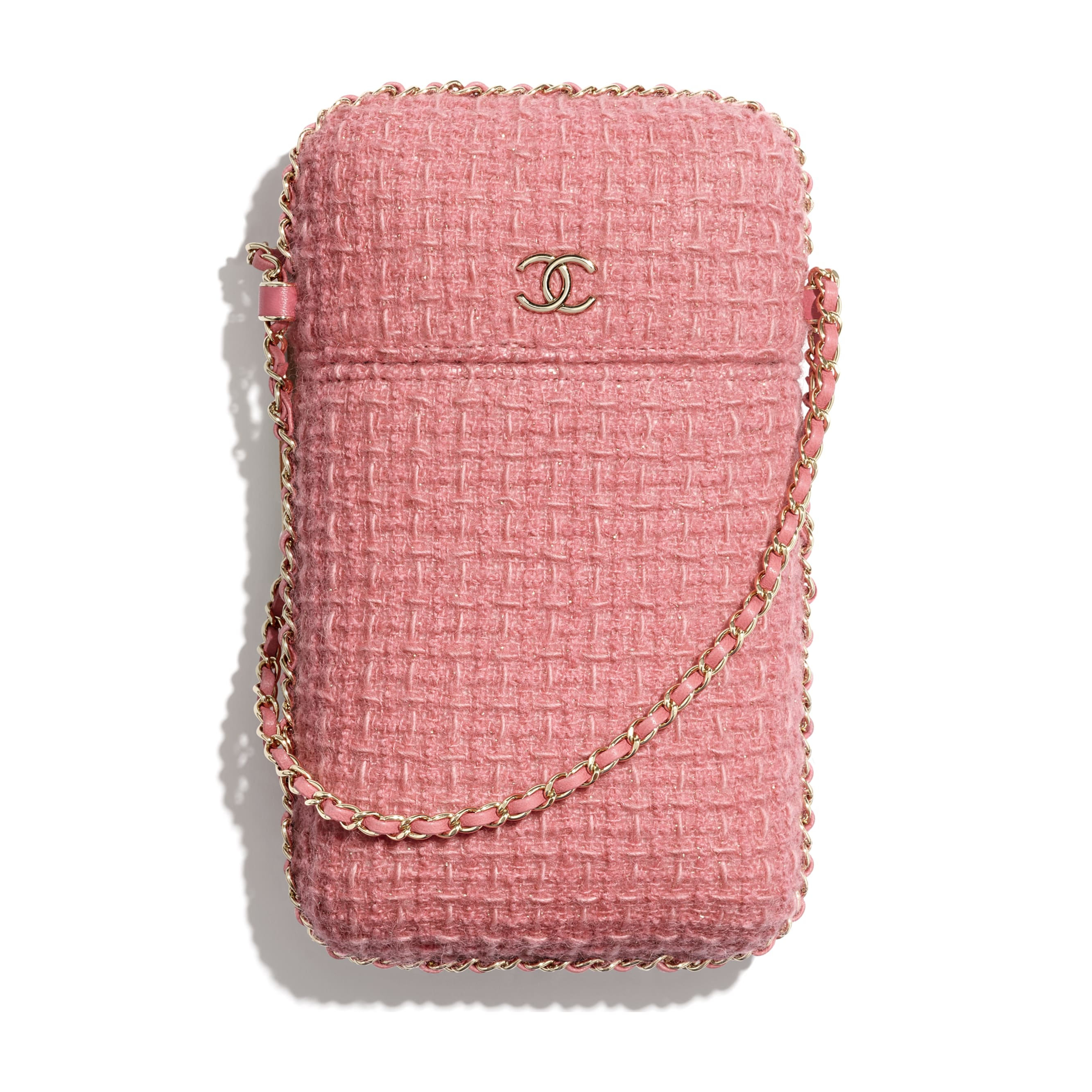 Clutch with Chain - Pink - Wool Tweed & Gold-Tone Metal - CHANEL - Default view - see standard sized version