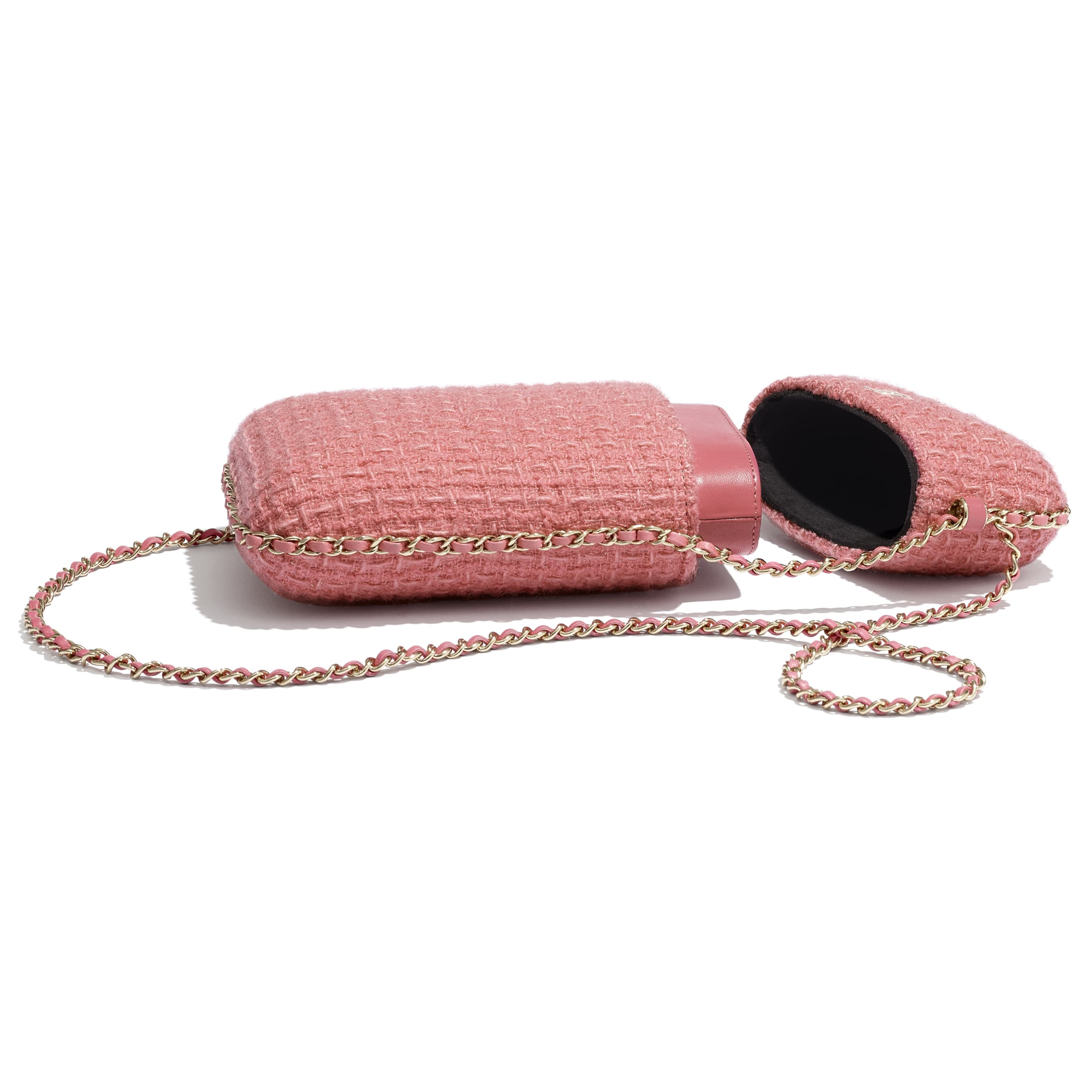 Clutch with Chain - Pink - Wool Tweed & Gold-Tone Metal - CHANEL - Extra view - see standard sized version