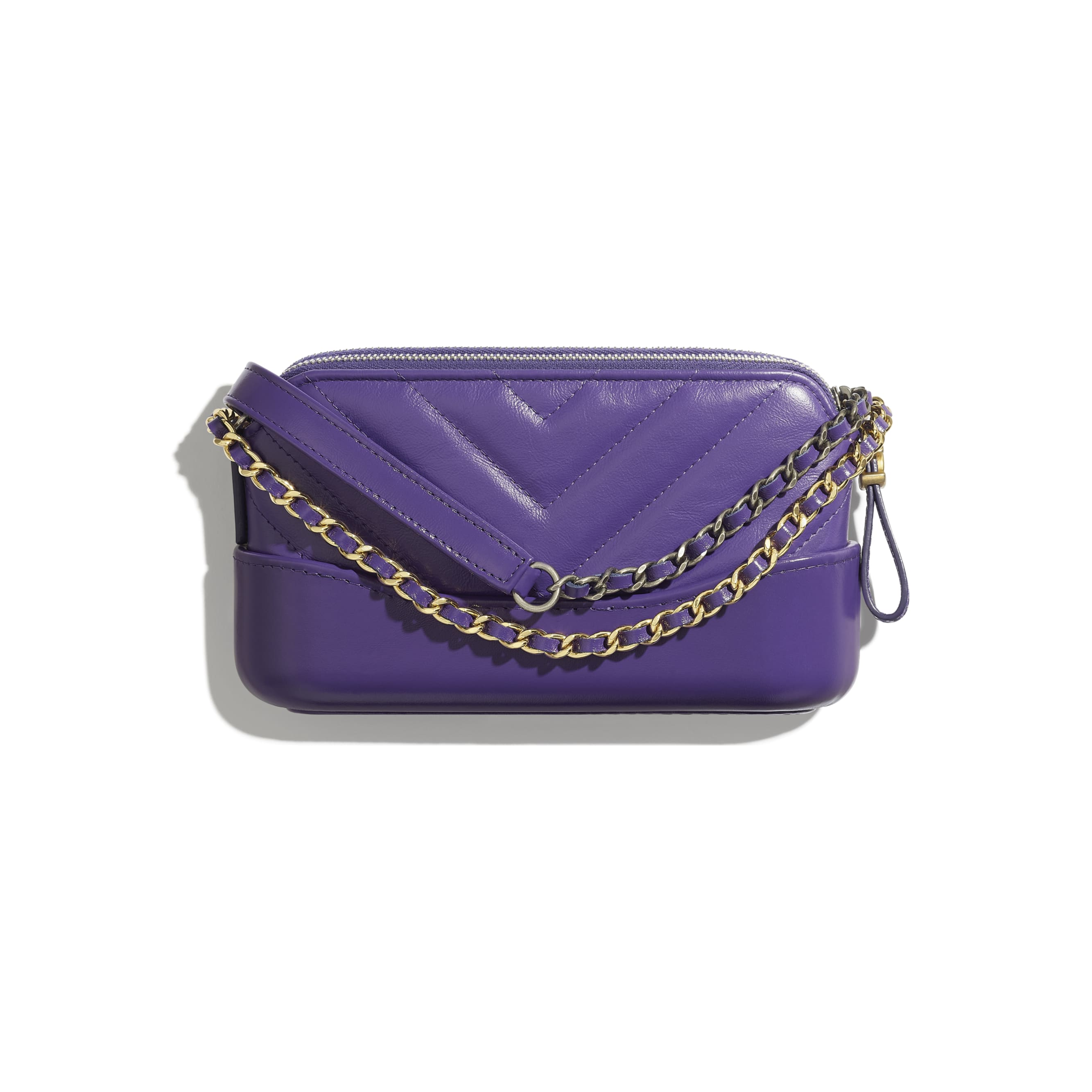 Clutch With Chain - Purple - Aged Calfskin, Smooth Calfskin, Gold-Tone & Silver-Tone Metal - Alternative view - see standard sized version