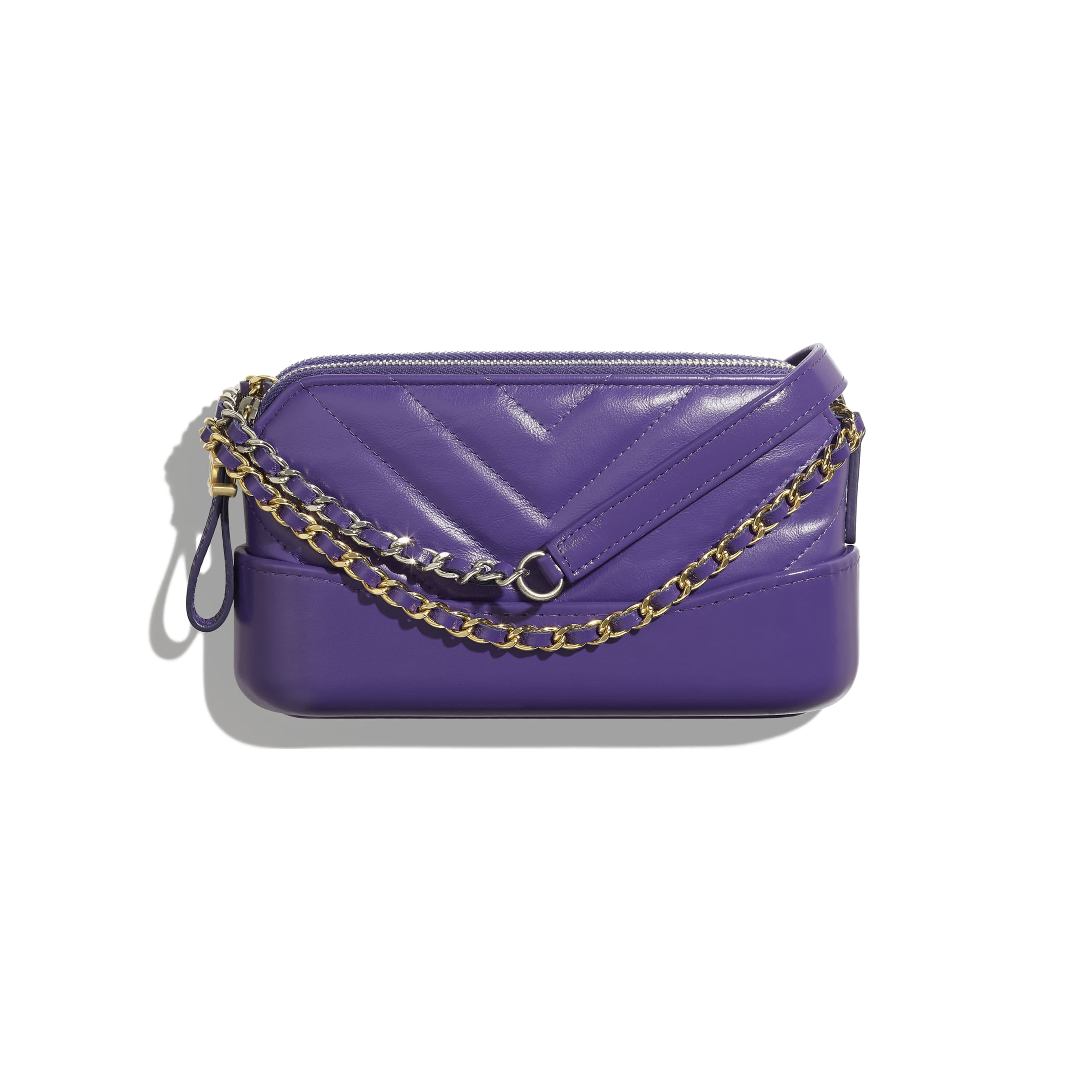 Clutch With Chain - Purple - Aged Calfskin, Smooth Calfskin, Gold-Tone & Silver-Tone Metal - Default view - see standard sized version