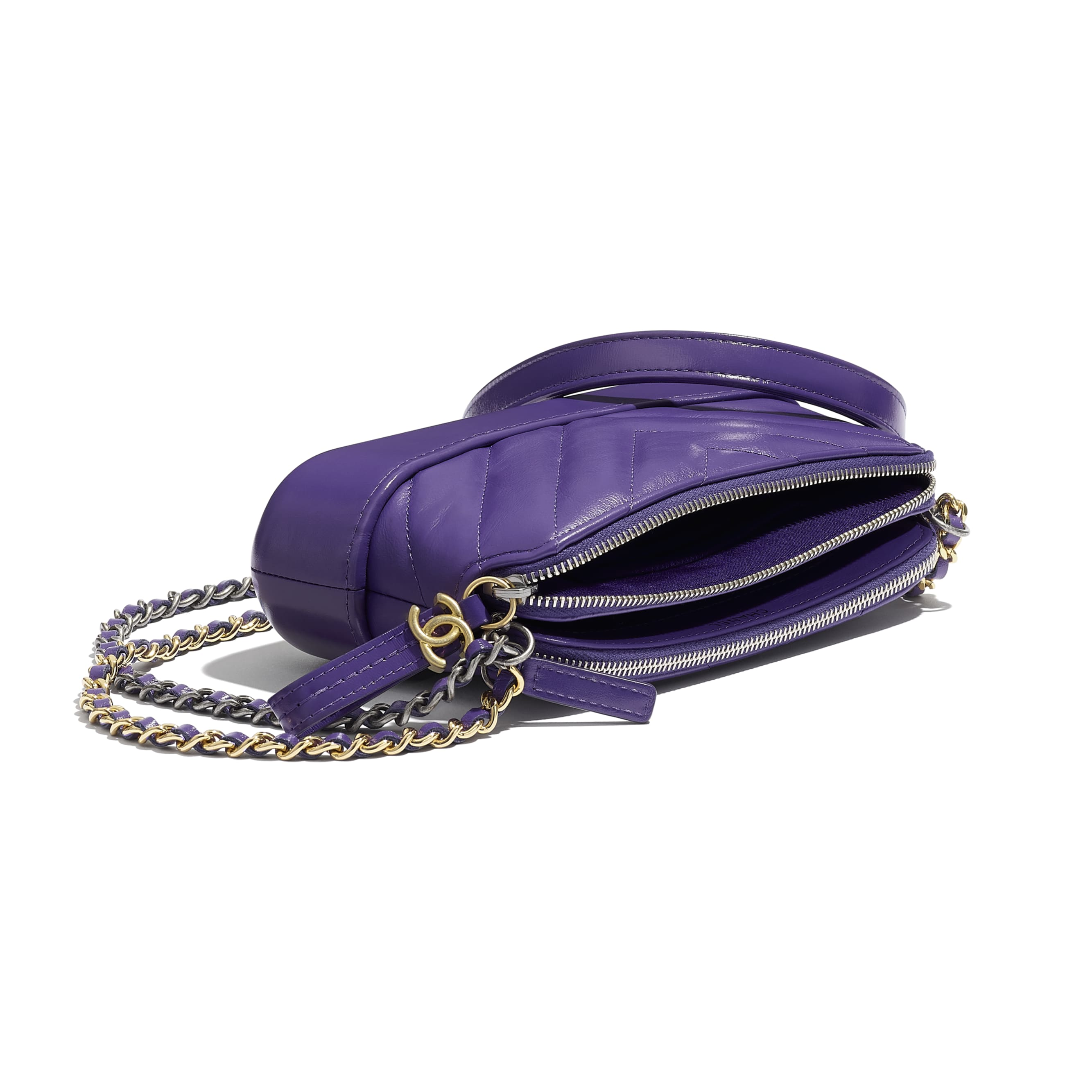 Clutch With Chain - Purple - Aged Calfskin, Smooth Calfskin, Gold-Tone & Silver-Tone Metal - Extra view - see standard sized version