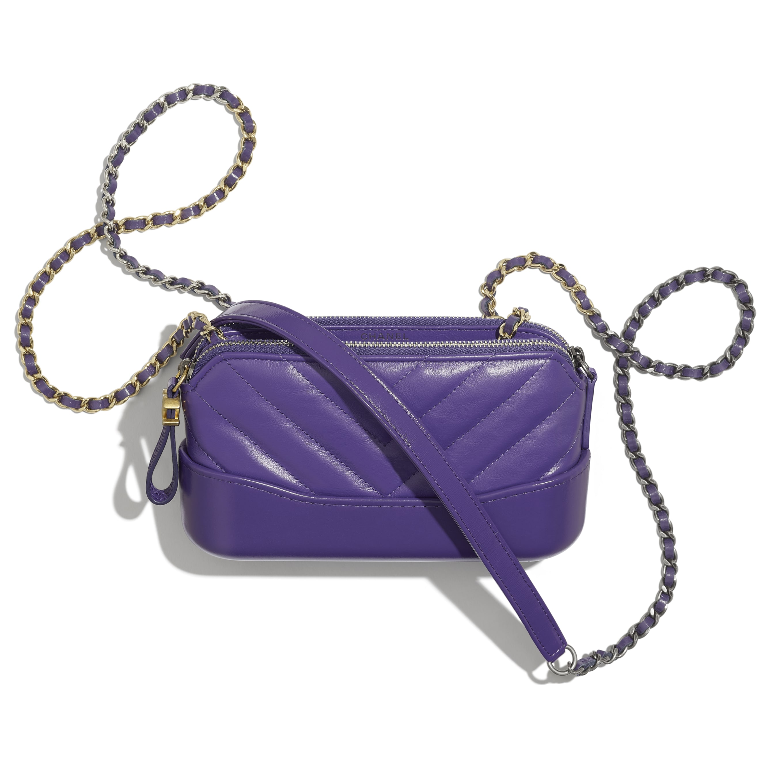 Clutch With Chain - Purple - Aged Calfskin, Smooth Calfskin, Gold-Tone & Silver-Tone Metal - Other view - see standard sized version