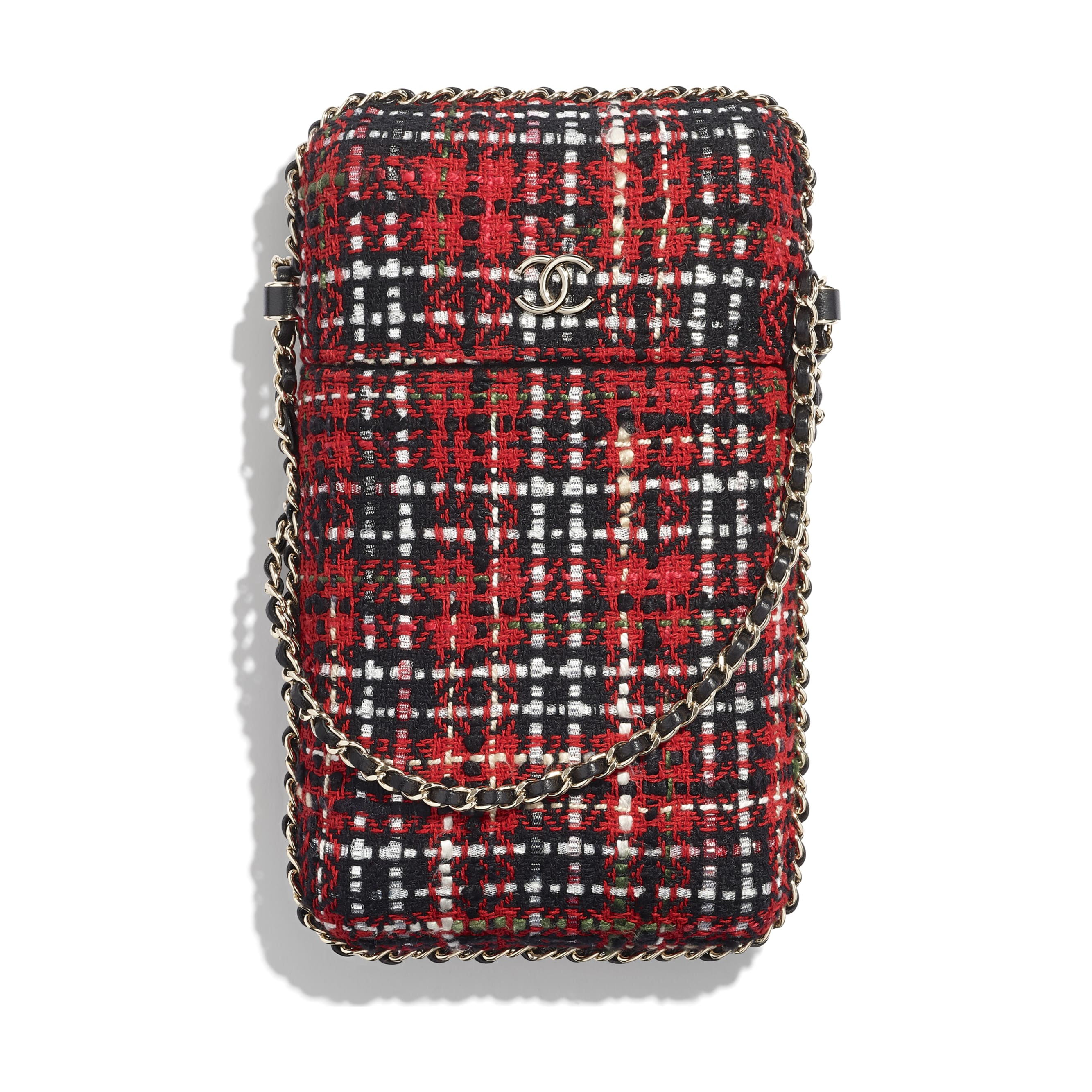 Clutch With Chain - Red, Black, White & Green - Tweed & Gold Metal - Default view - see standard sized version
