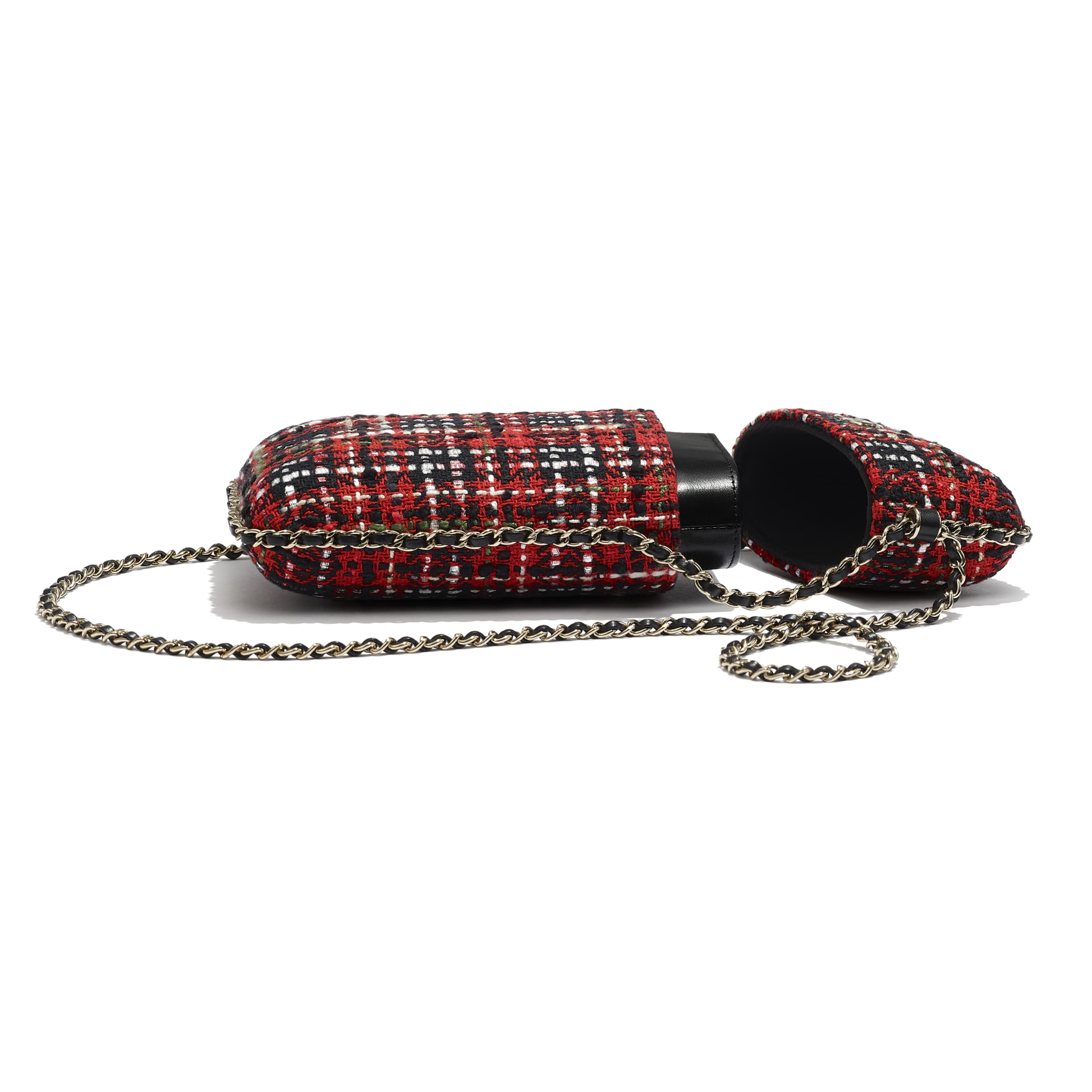 Clutch With Chain - Red, Black, White & Green - Tweed & Gold Metal - Extra view - see standard sized version