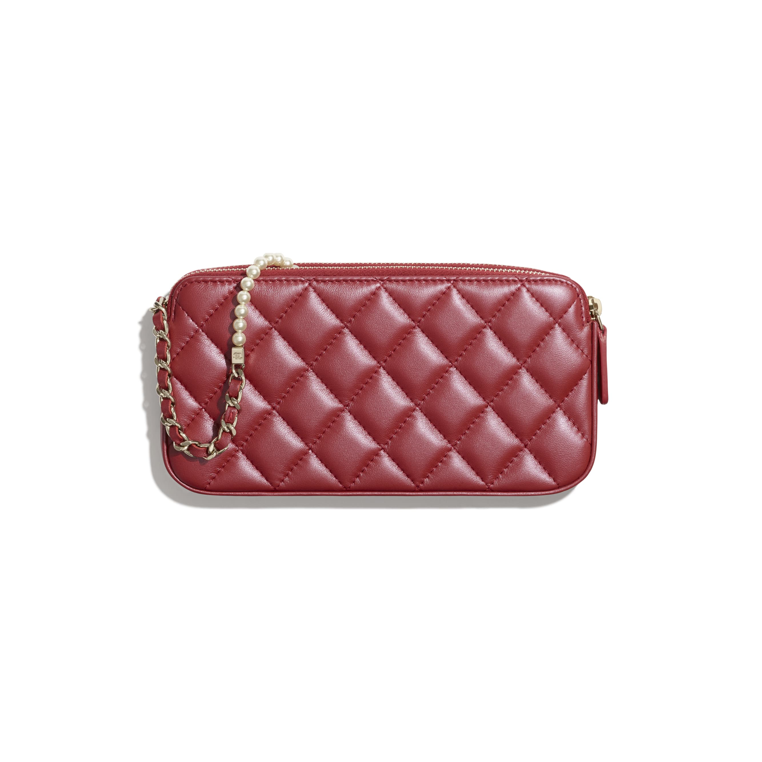 Clutch With Chain - Red - Iridescent lambskin & gold-tone metal - CHANEL - Alternative view - see standard sized version