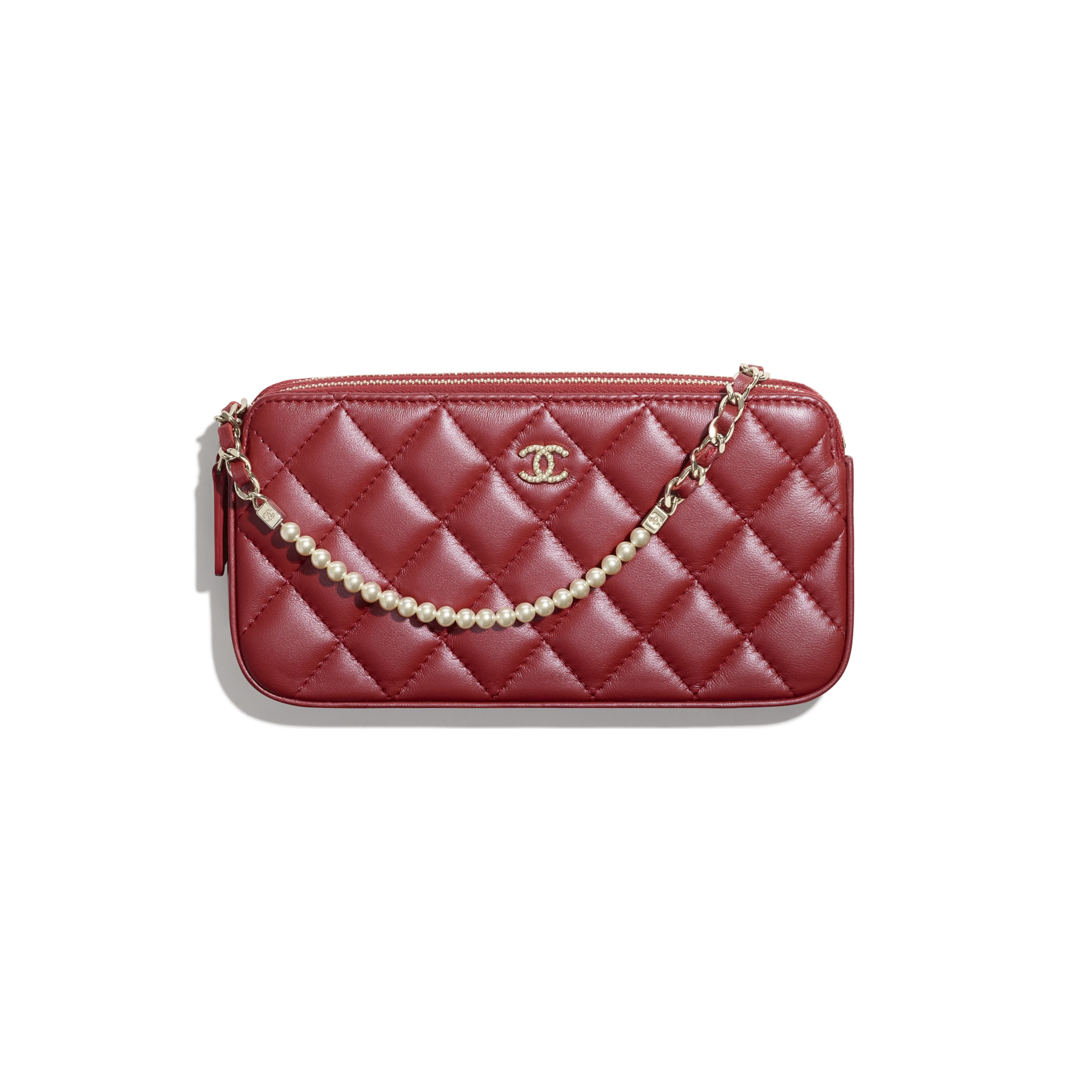 Clutch With Chain - Red - Iridescent lambskin & gold-tone metal - CHANEL - Default view - see standard sized version