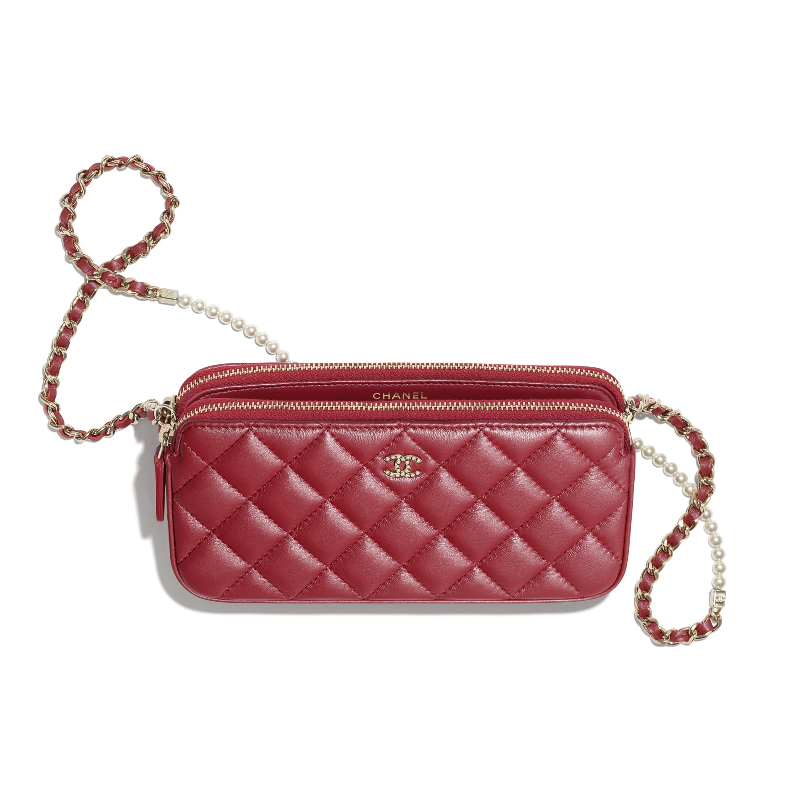 Clutch With Chain - Red - Iridescent lambskin & gold-tone metal - CHANEL - Other view - see standard sized version