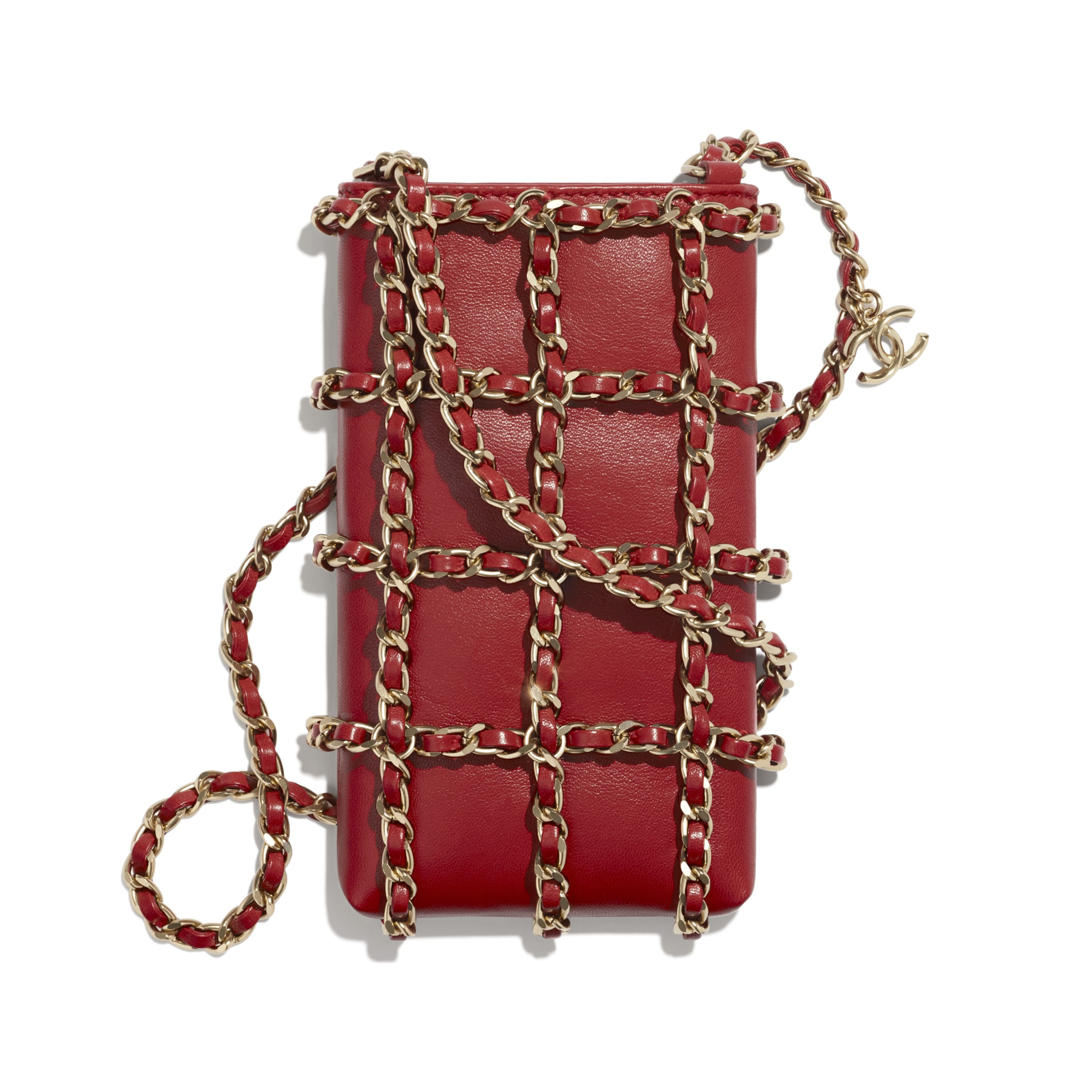 Clutch With Chain - Red - Lambskin - CHANEL - Alternative view - see standard sized version
