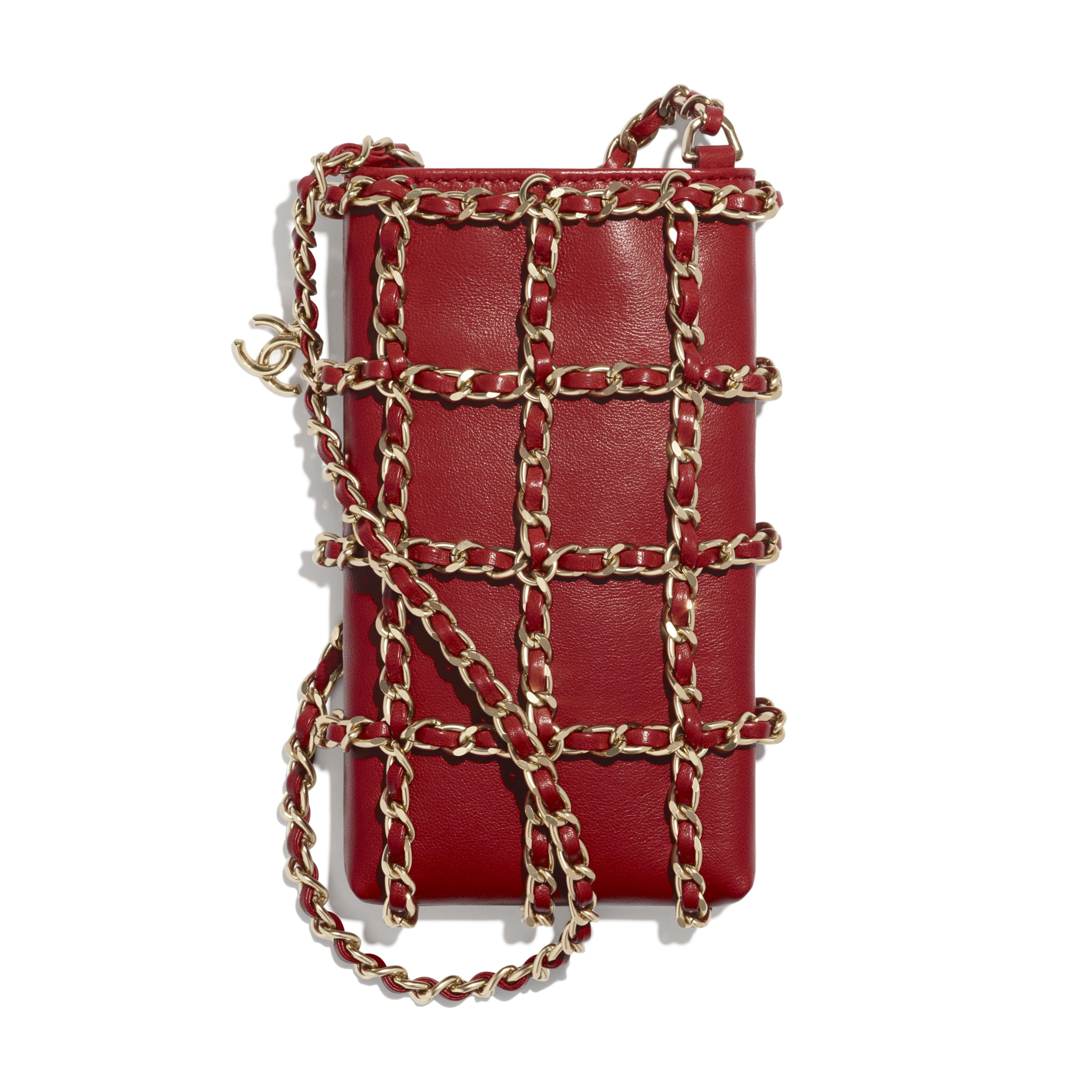 Clutch With Chain - Red - Lambskin - CHANEL - Default view - see standard sized version