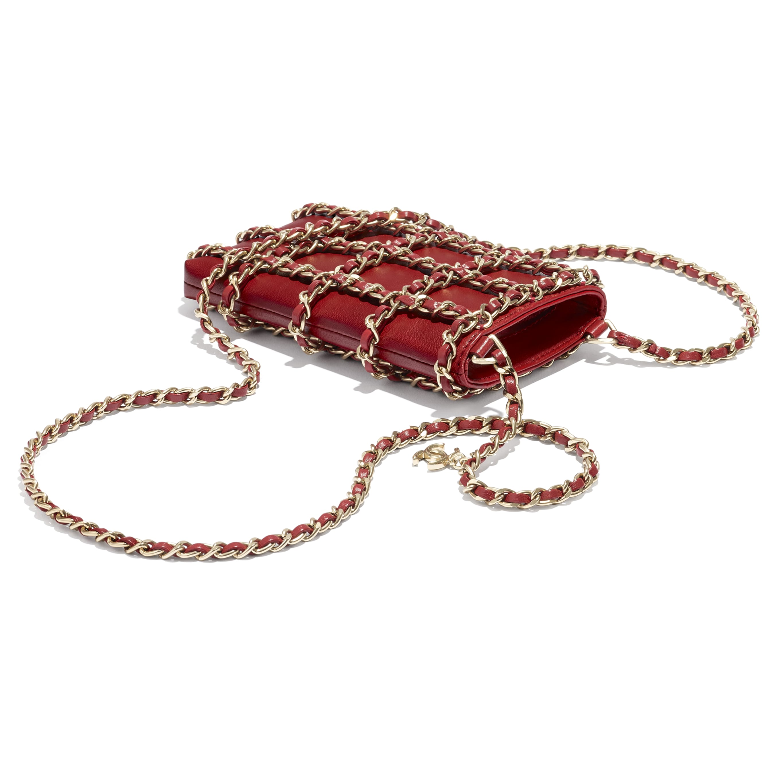 Clutch With Chain - Red - Lambskin - CHANEL - Extra view - see standard sized version