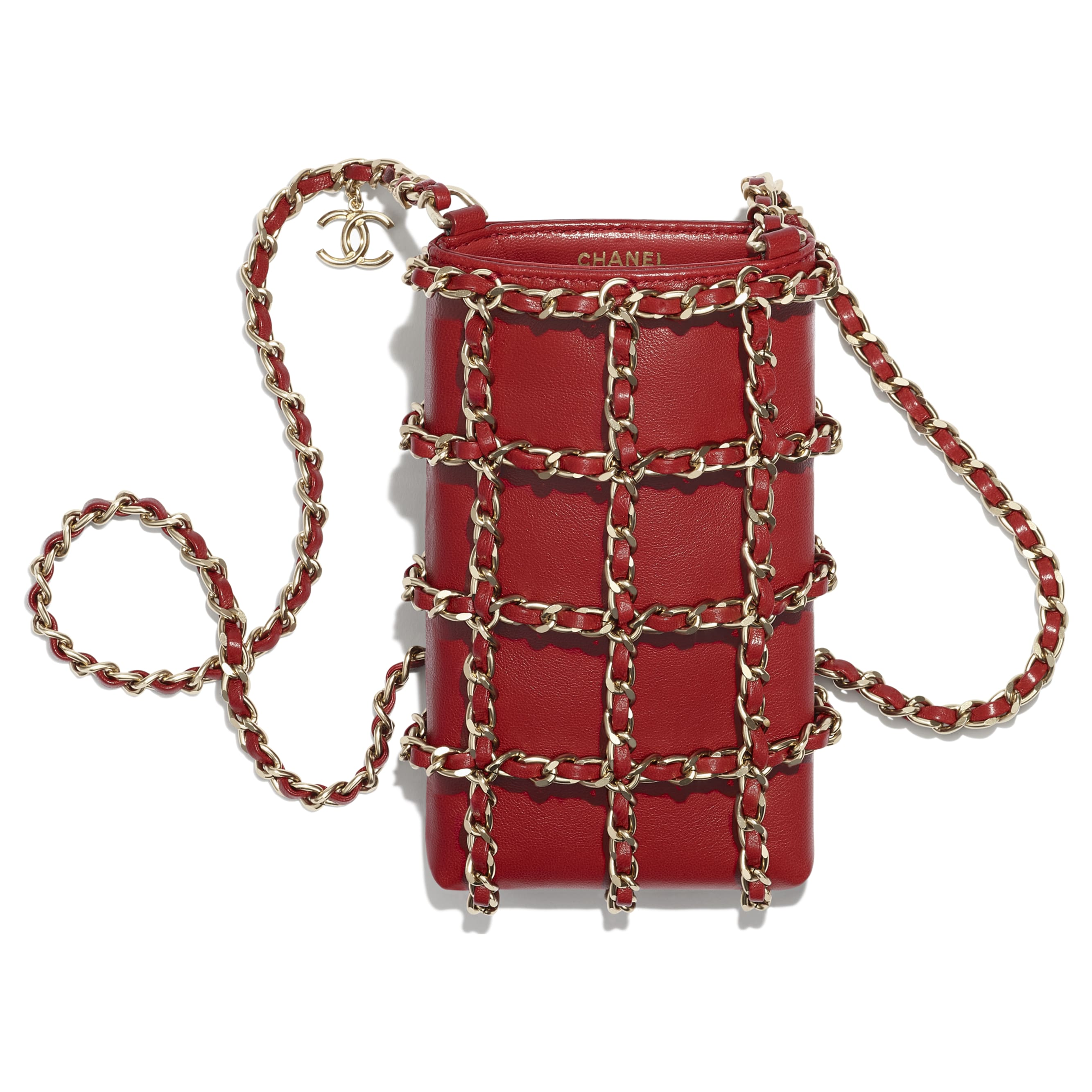 Clutch With Chain - Red - Lambskin - CHANEL - Other view - see standard sized version
