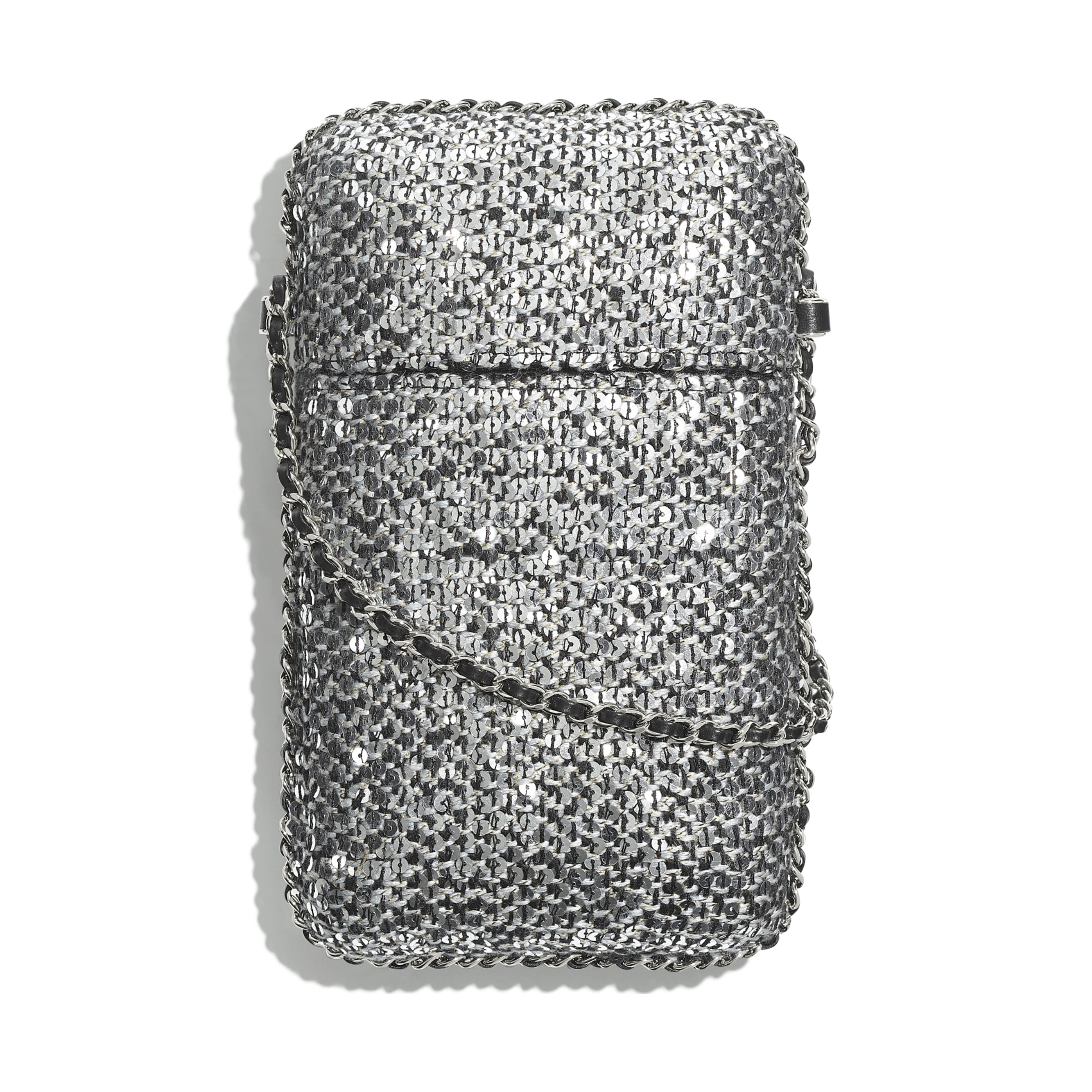 Clutch With Chain - Silver, Black & Gold - Tweed, Sequins & Silver-Tone Metal - CHANEL - Alternative view - see standard sized version