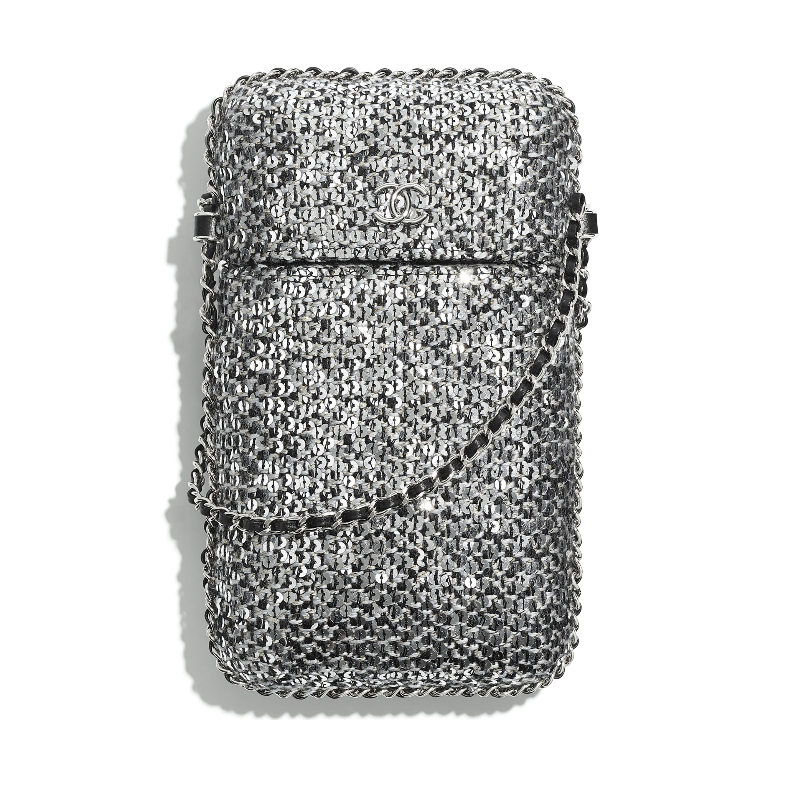 Clutch With Chain - Silver, Black & Gold - Tweed, Sequins & Silver-Tone Metal - CHANEL - Default view - see standard sized version