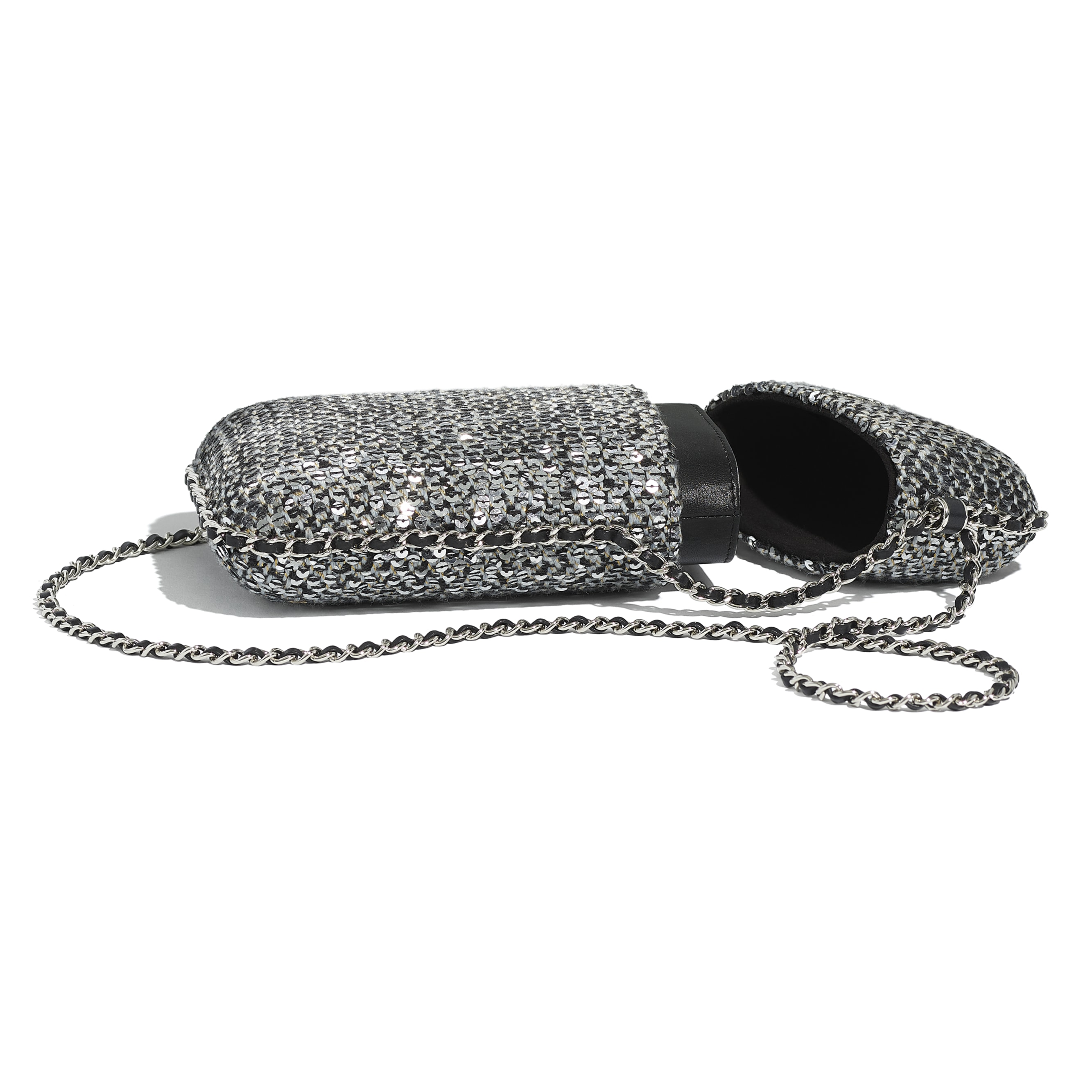 Clutch With Chain - Silver, Black & Gold - Tweed, Sequins & Silver-Tone Metal - CHANEL - Extra view - see standard sized version