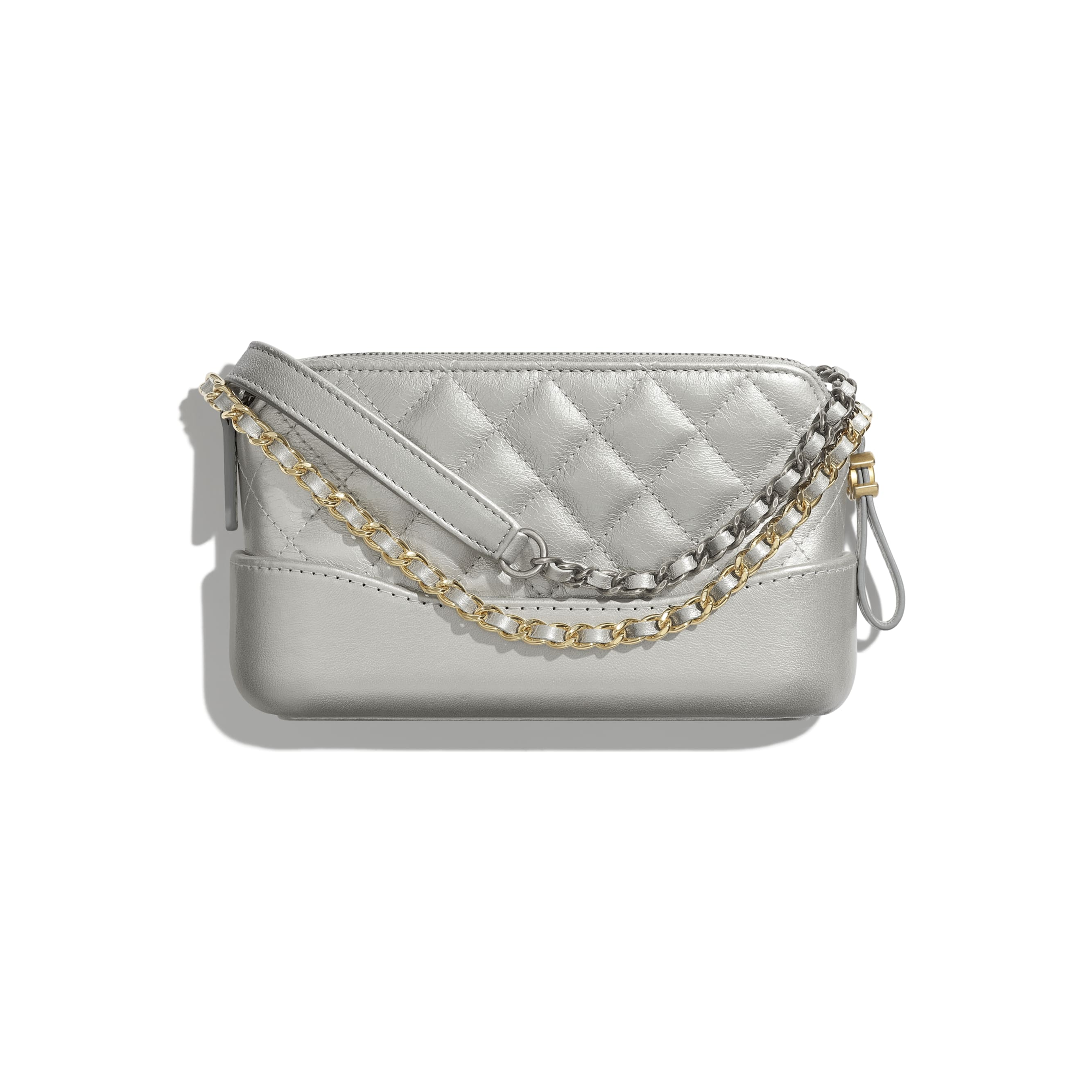 Clutch With Chain - Silver - Metallic Crumpled Lambskin, Calfskin, Gold-Tone & Silver-Tone Metal - Alternative view - see standard sized version