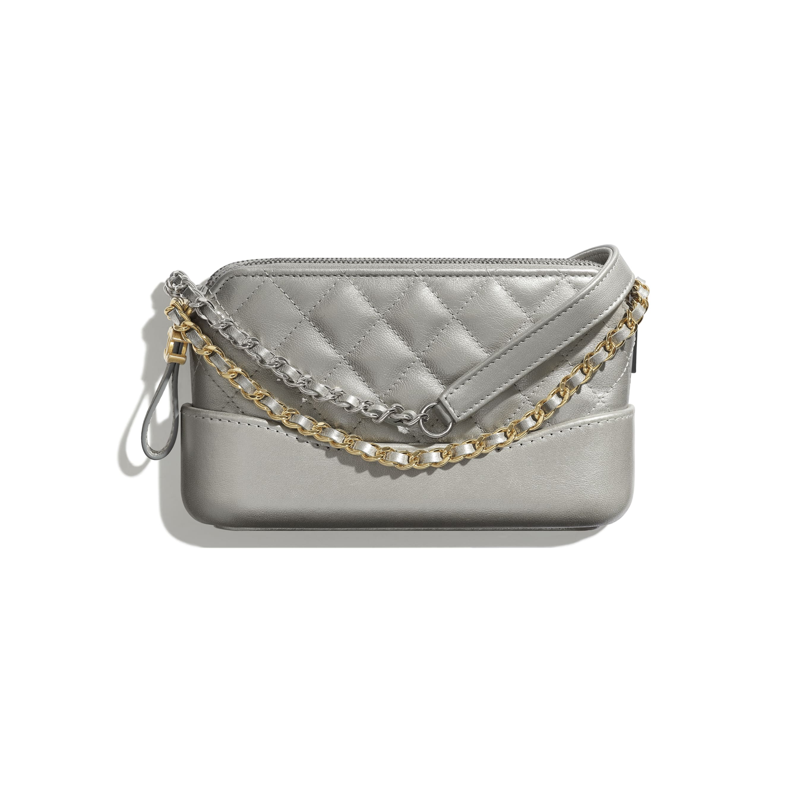 Clutch With Chain - Silver - Metallic Crumpled Lambskin, Calfskin, Gold-Tone & Silver-Tone Metal - Default view - see standard sized version