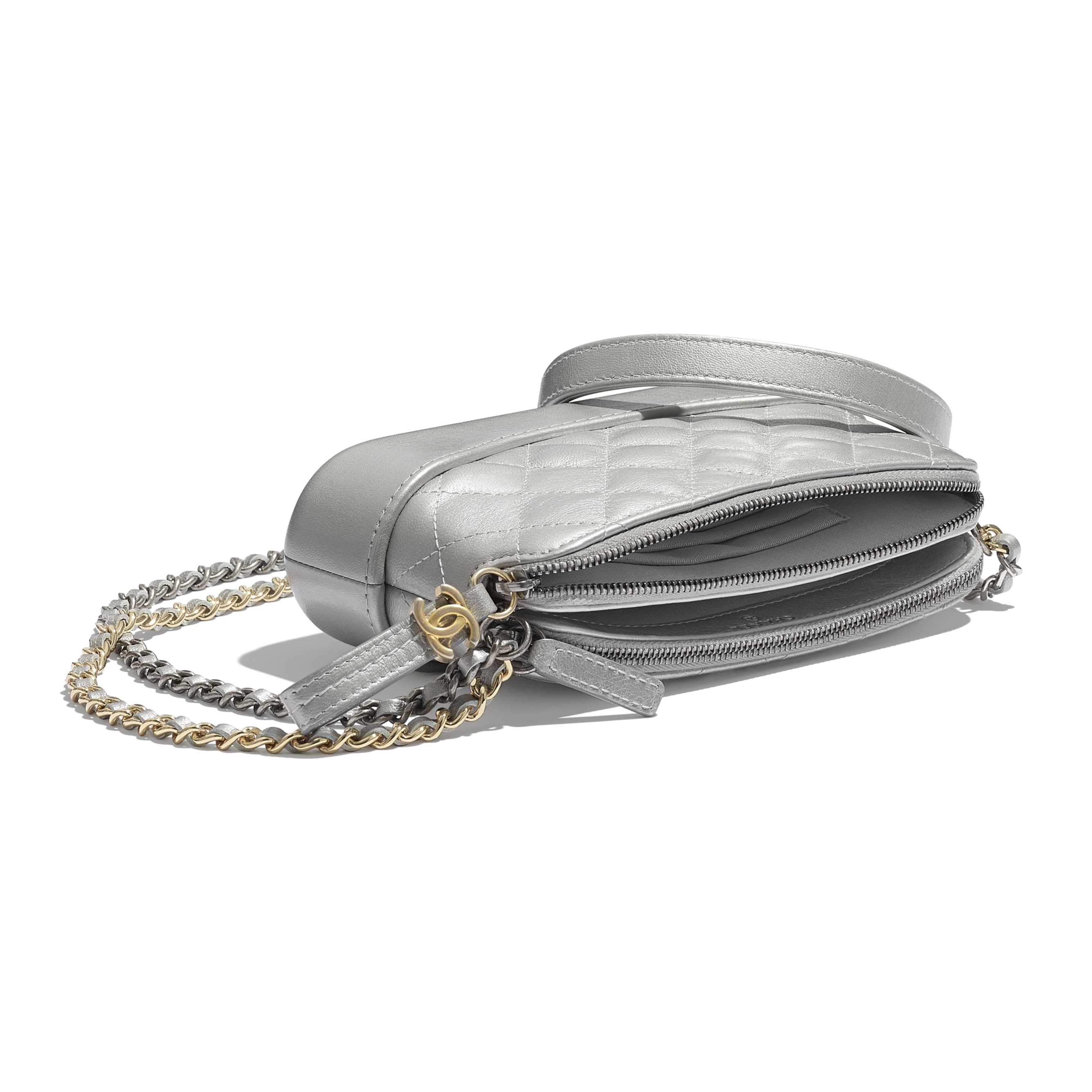 Clutch With Chain - Silver - Metallic Crumpled Lambskin, Calfskin, Gold-Tone & Silver-Tone Metal - Extra view - see standard sized version