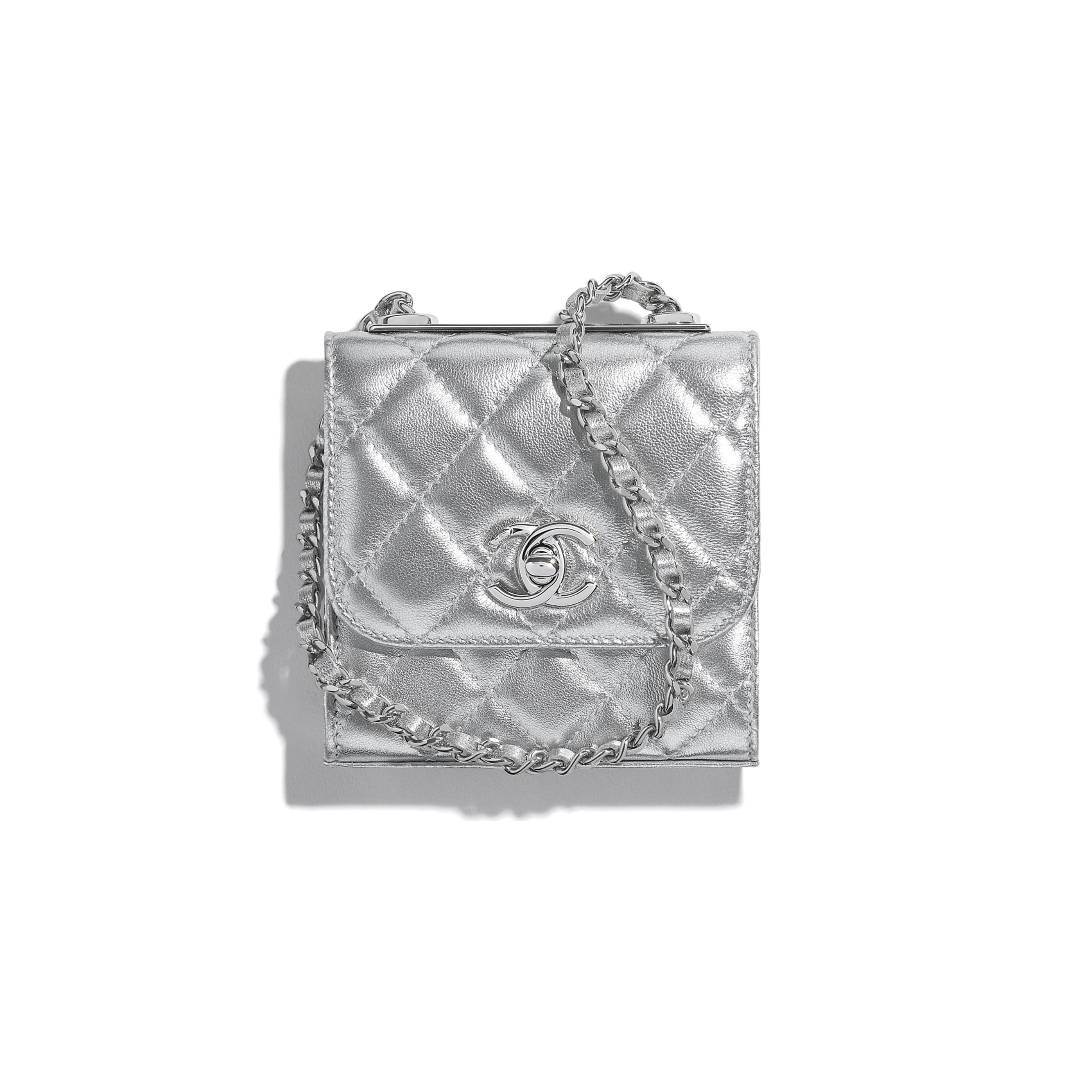 Clutch With Chain - Silver - Metallic Lambskin & Silver Metal - CHANEL - Default view - see standard sized version