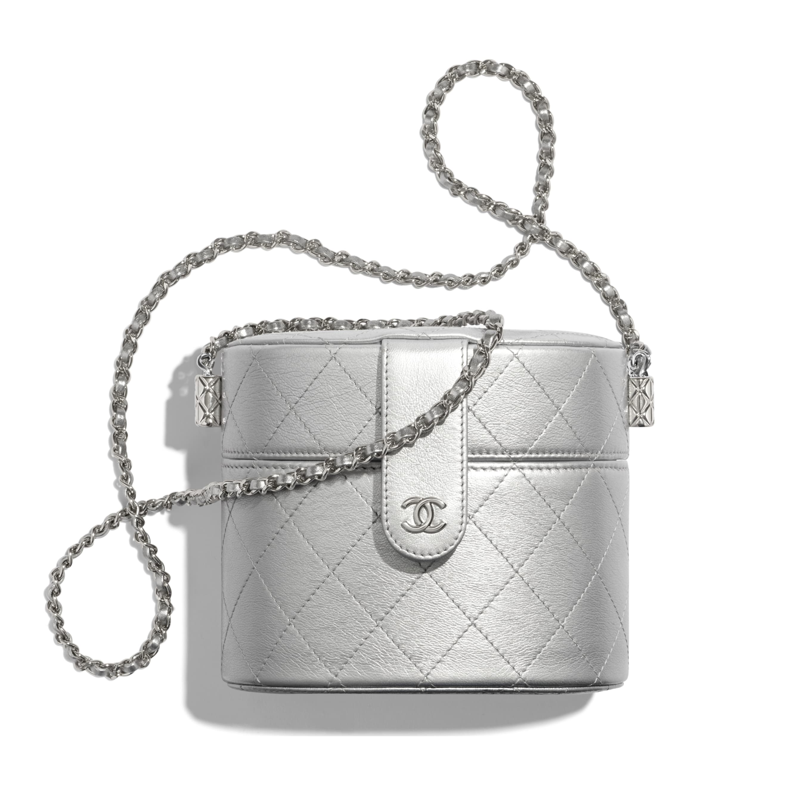 Clutch with Chain - Silver - Metallic Lambskin & Silver-Tone Metal - CHANEL - Default view - see standard sized version
