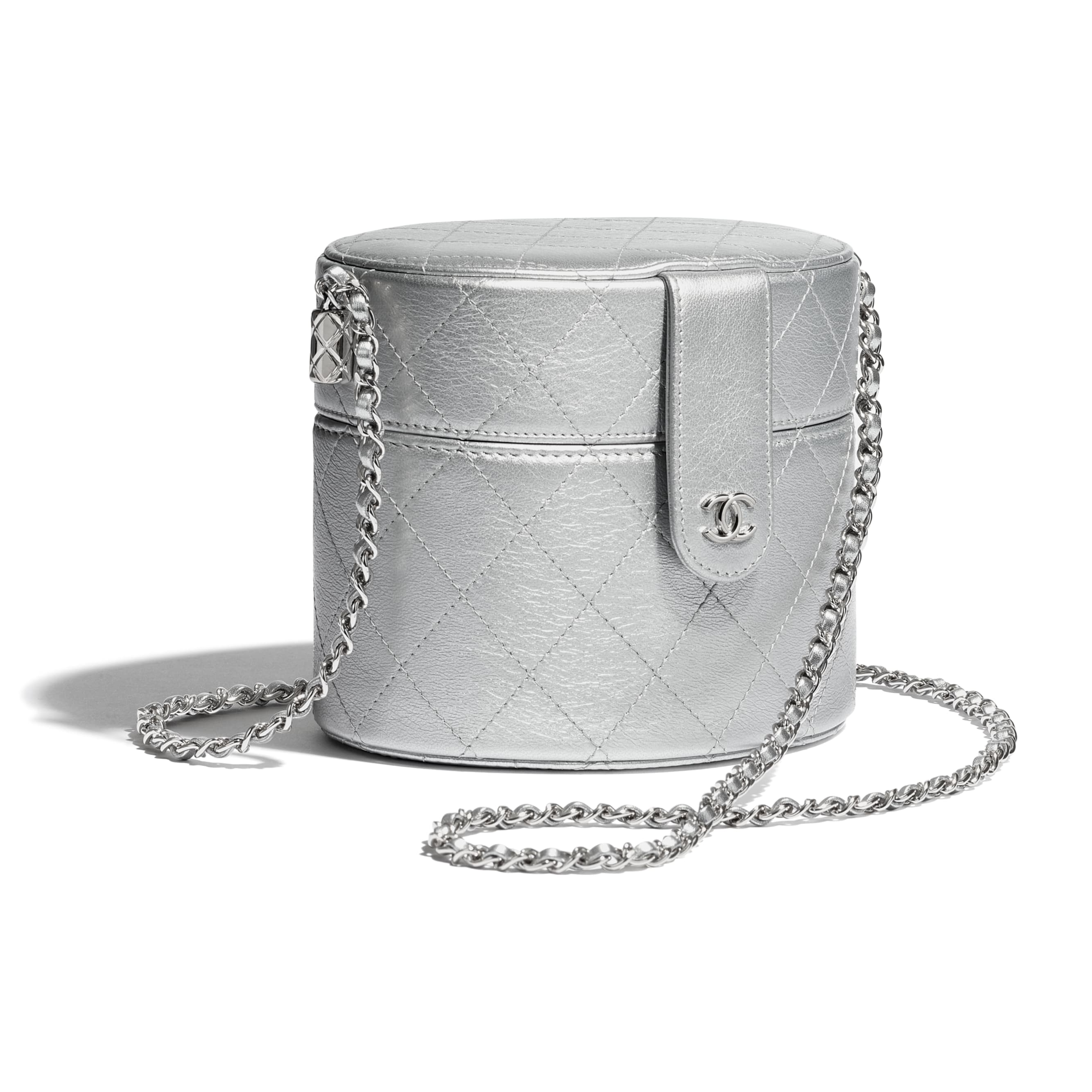 Clutch with Chain - Silver - Metallic Lambskin & Silver-Tone Metal - CHANEL - Extra view - see standard sized version