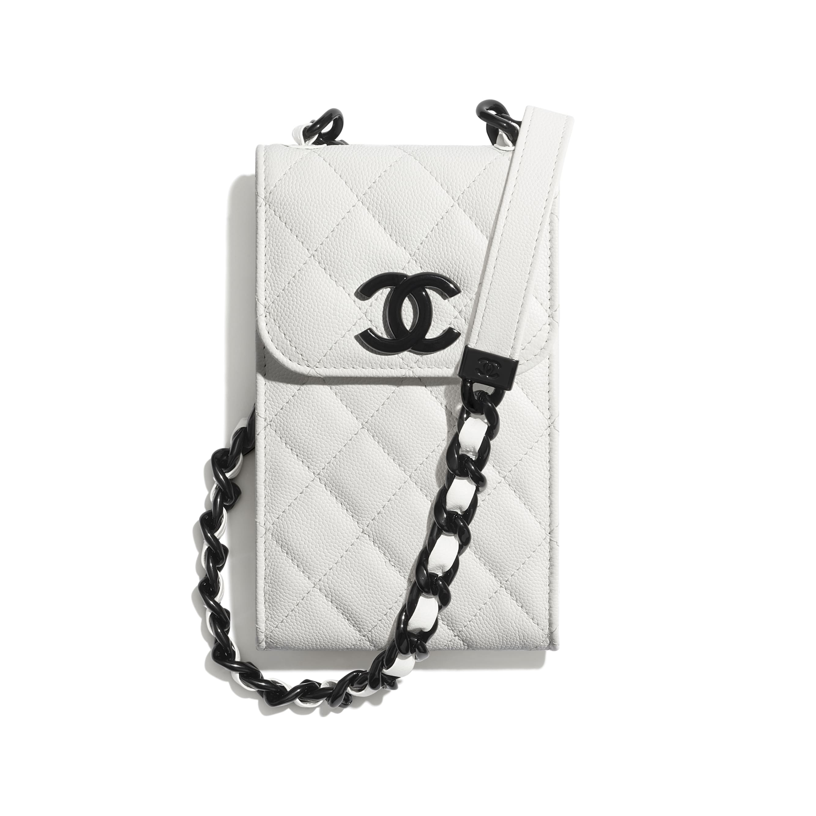 Clutch With Chain - White & Black - Grained Calfskin & Lacquered Metal - CHANEL - Default view - see standard sized version