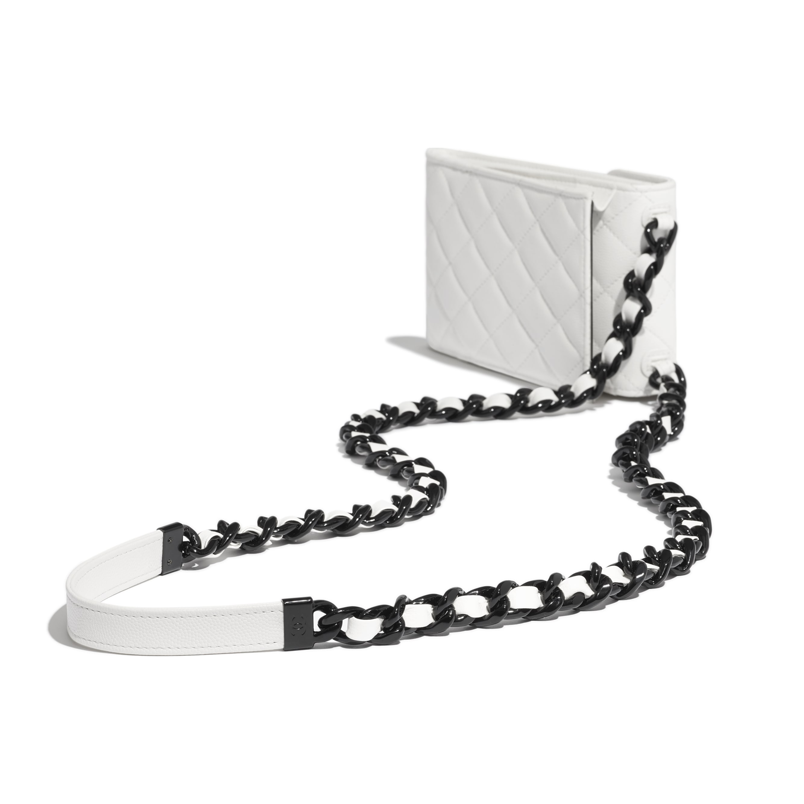 Clutch With Chain - White & Black - Grained Calfskin & Lacquered Metal - CHANEL - Extra view - see standard sized version