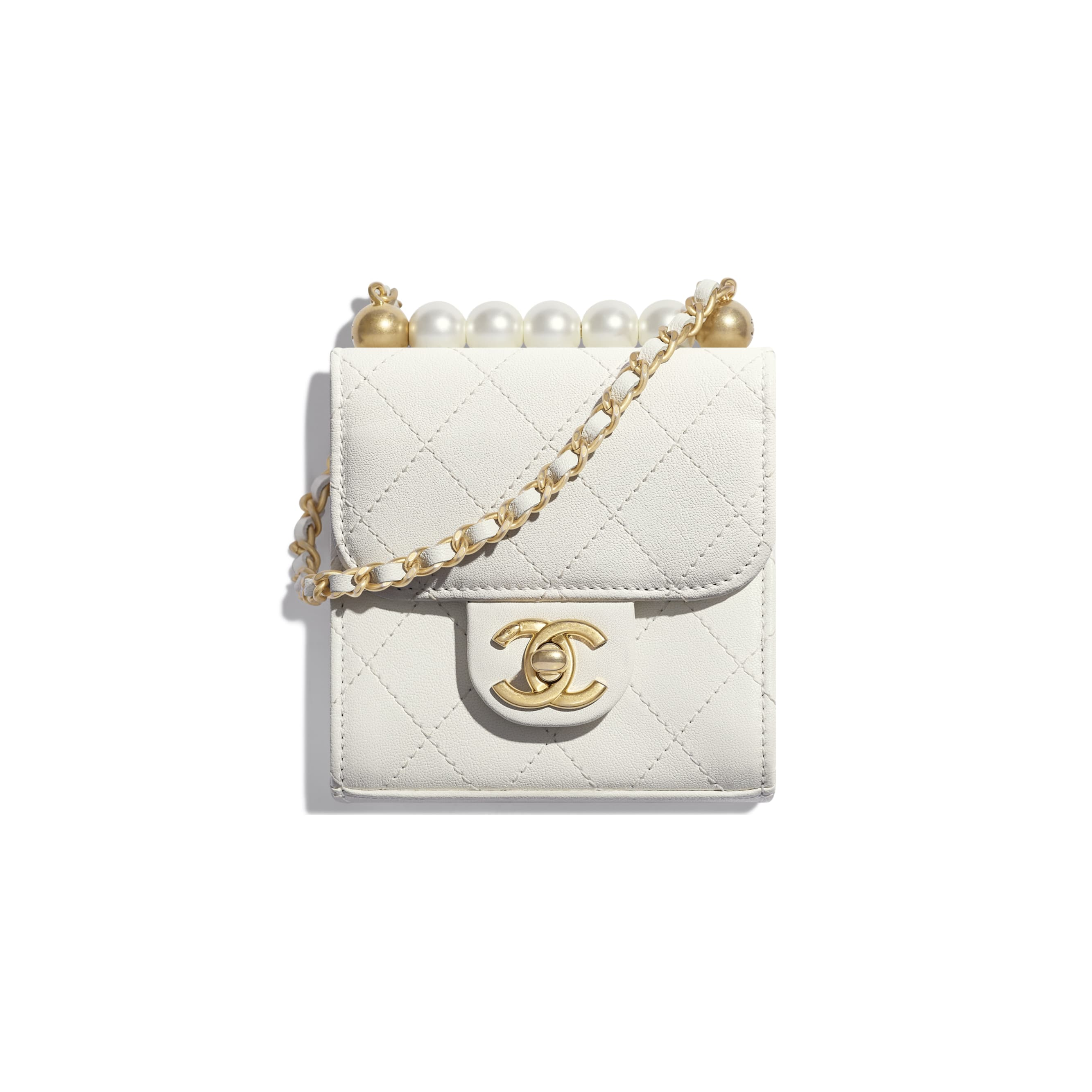 Clutch With Chain - White - Goatskin, Imitation Pearls & Gold-Tone Metal - Default view - see standard sized version