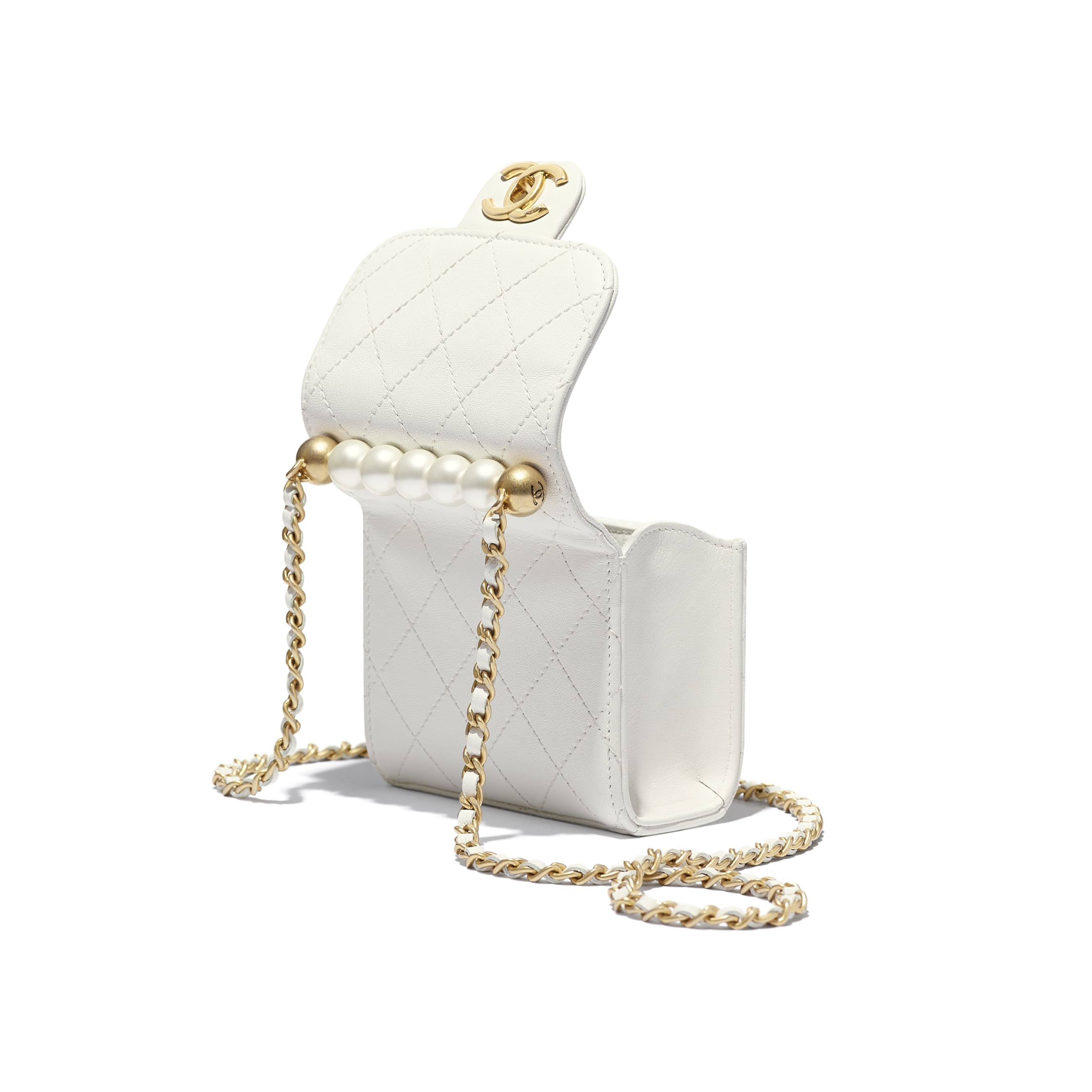 Clutch With Chain - White - Goatskin, Imitation Pearls & Gold-Tone Metal - Extra view - see standard sized version