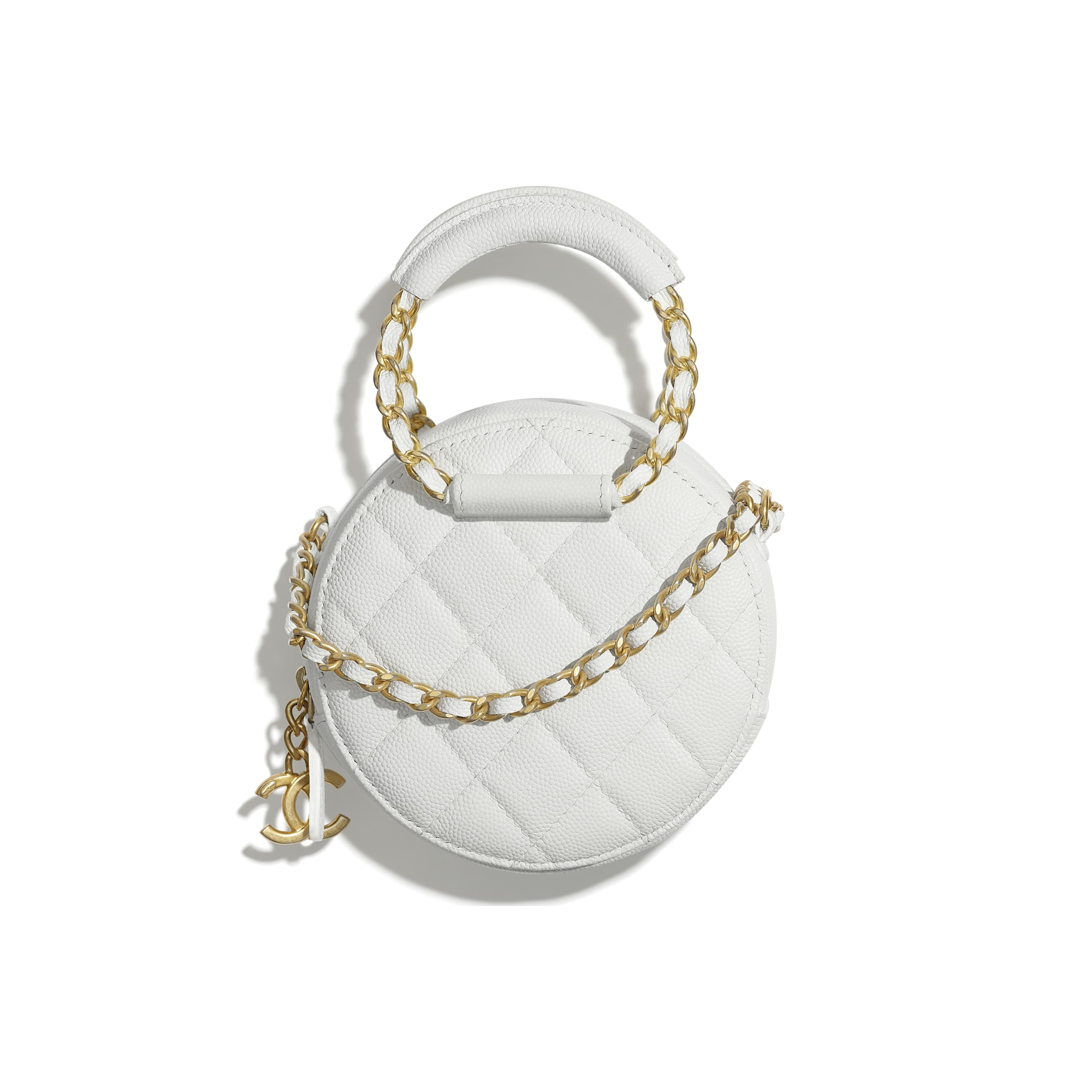 Clutch With Chain - White - Grained Shiny Calfskin & Gold-Tone Metal - Default view - see standard sized version