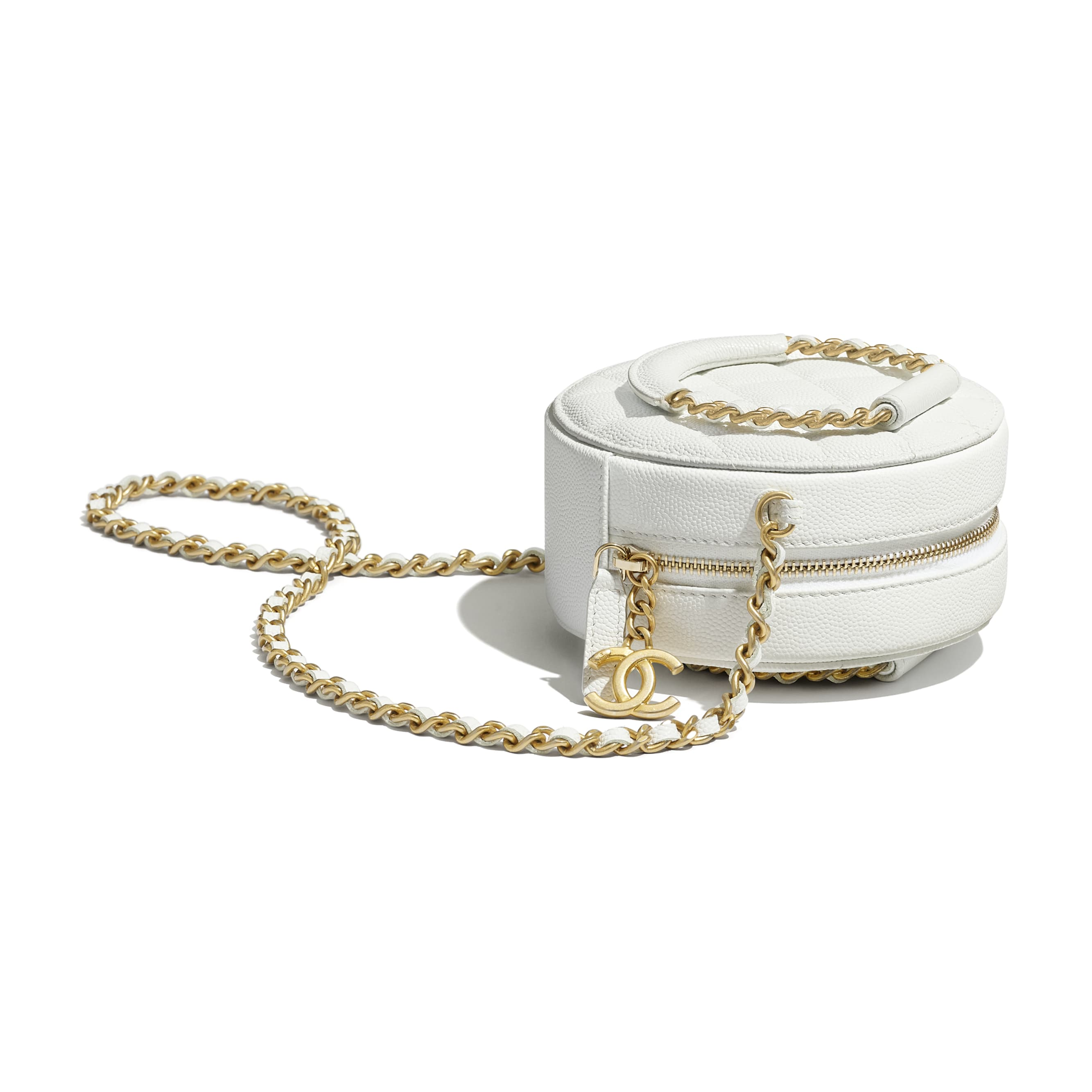 Clutch With Chain - White - Grained Shiny Calfskin & Gold-Tone Metal - Extra view - see standard sized version