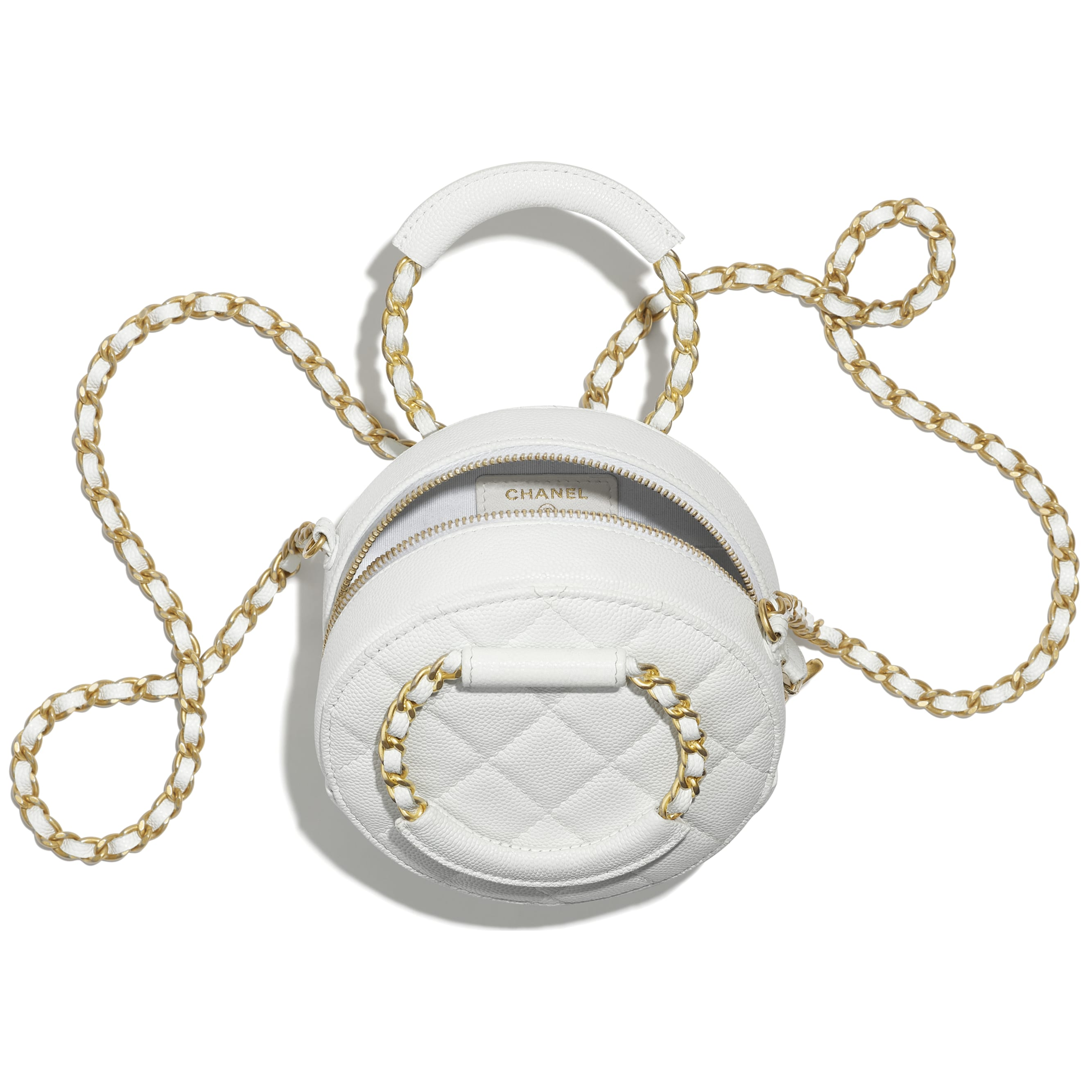Clutch With Chain - White - Grained Shiny Calfskin & Gold-Tone Metal - CHANEL - Other view - see standard sized version