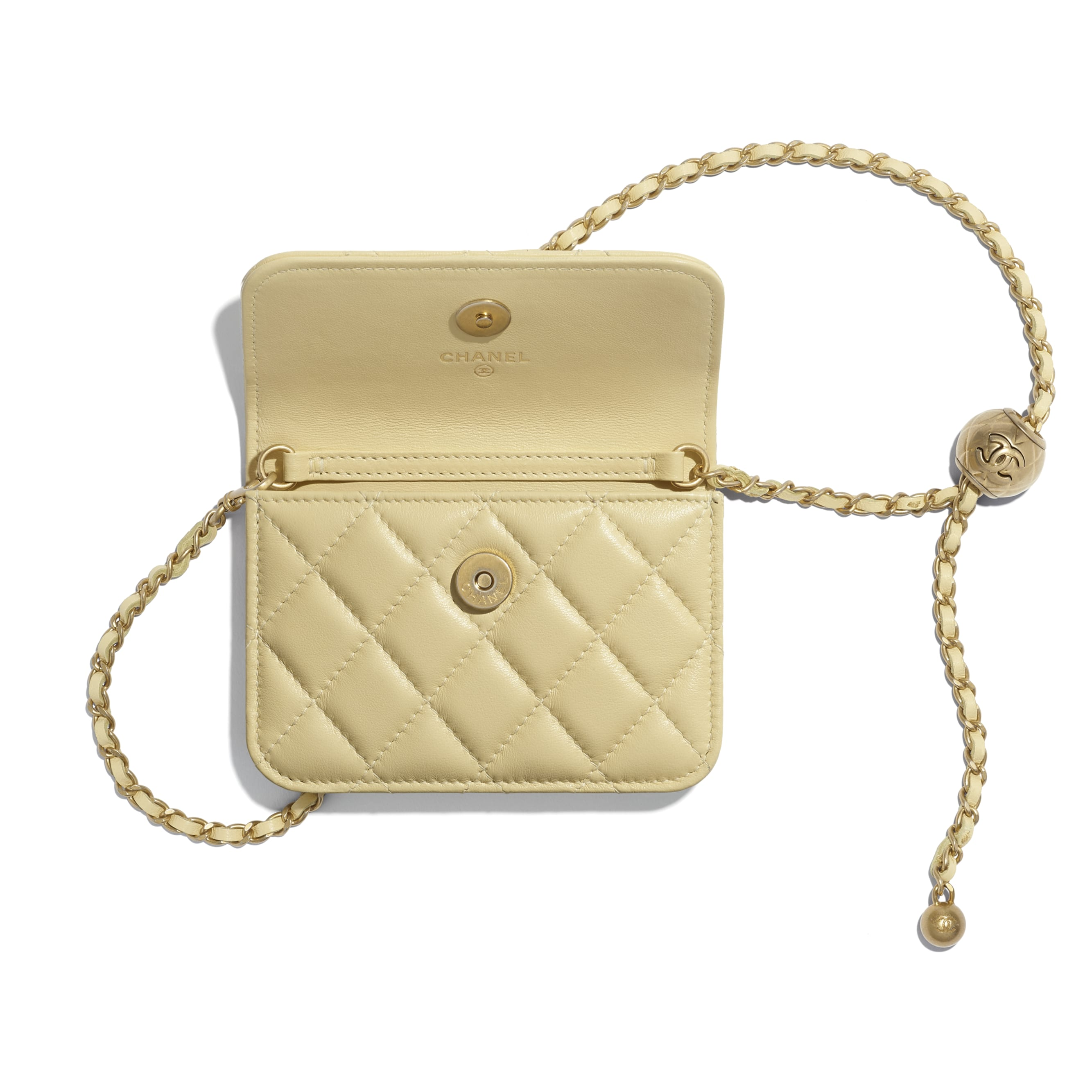 Clutch With Chain - Yellow - Lambskin - CHANEL - Alternative view - see standard sized version