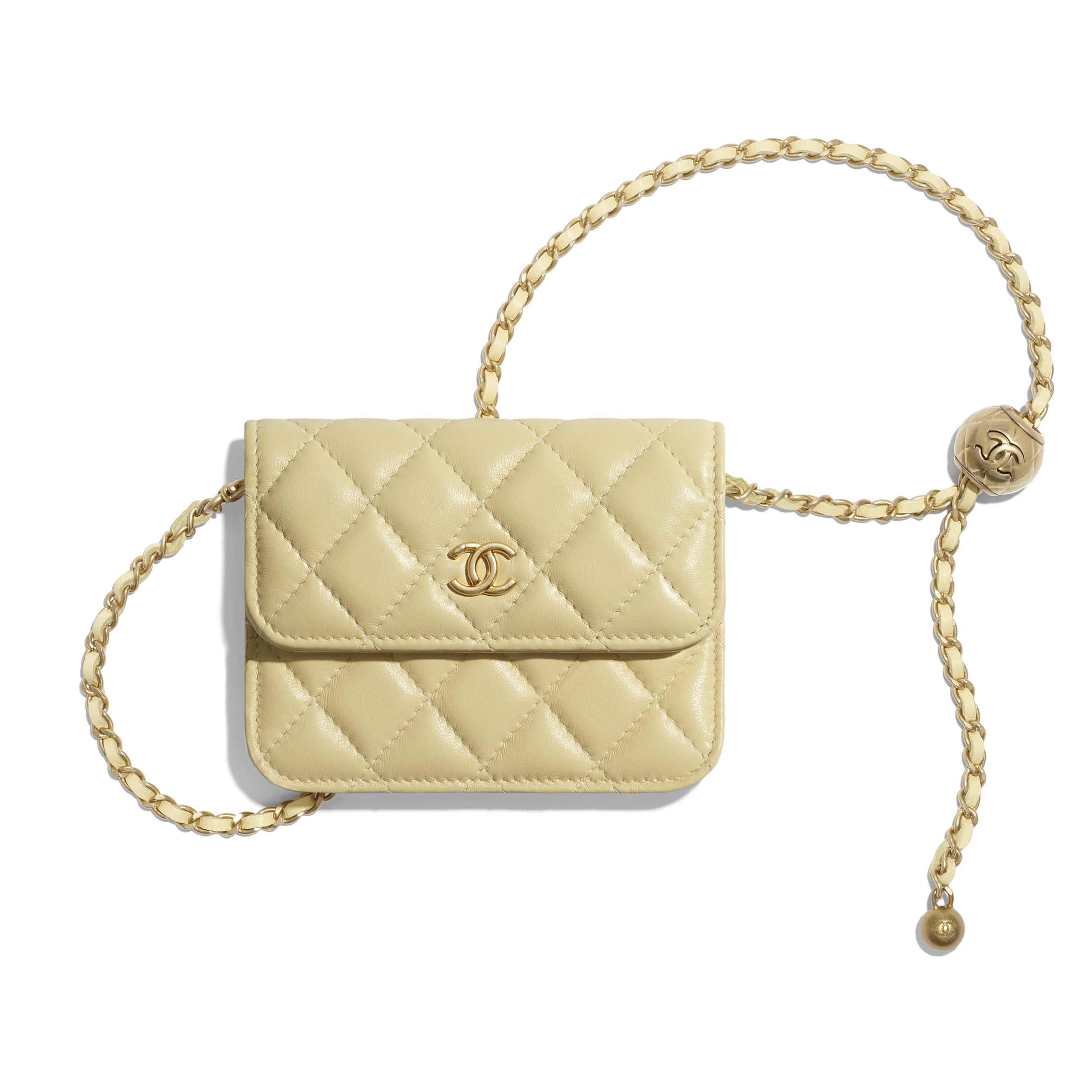 Clutch With Chain - Yellow - Lambskin - CHANEL - Default view - see standard sized version