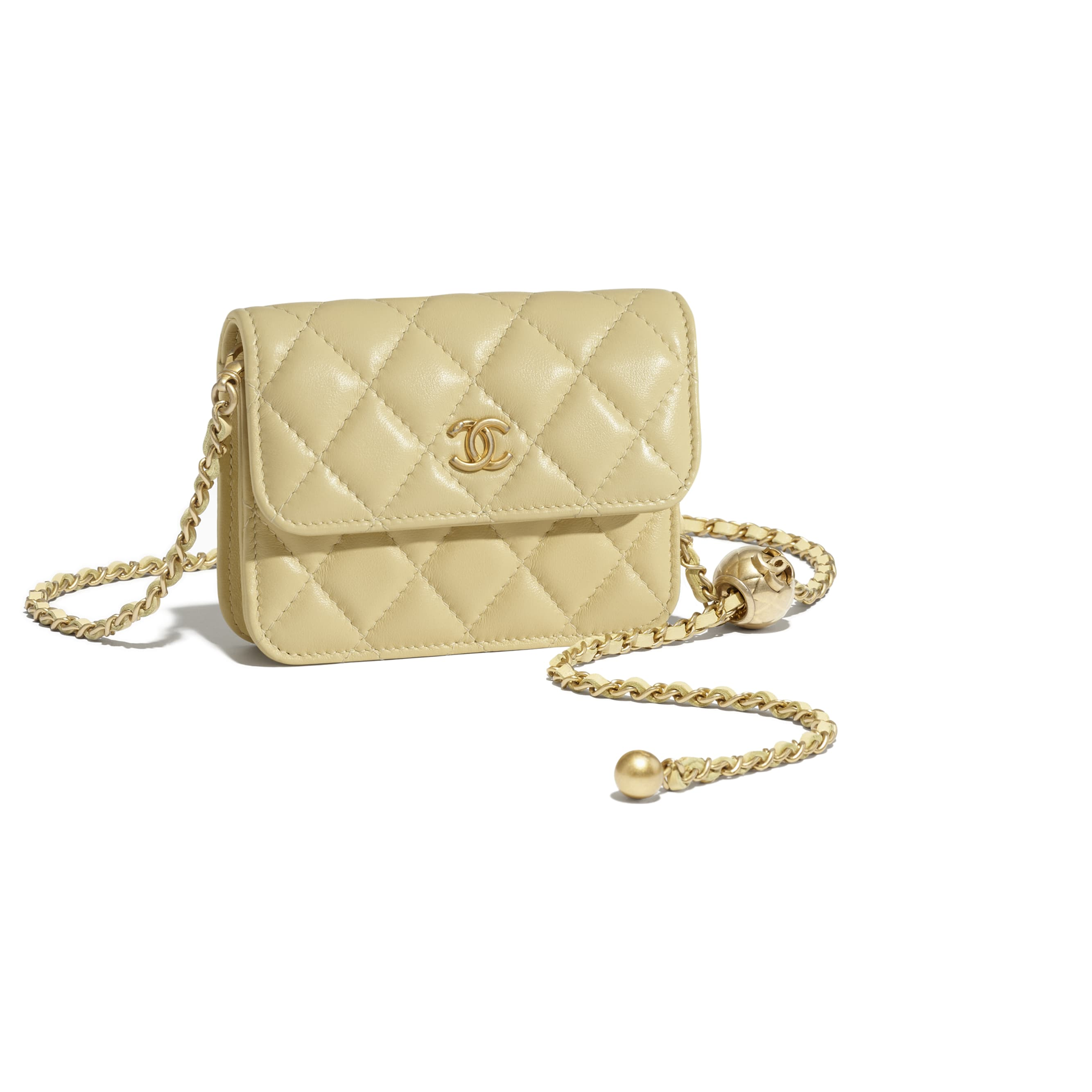 Clutch With Chain - Yellow - Lambskin - CHANEL - Extra view - see standard sized version