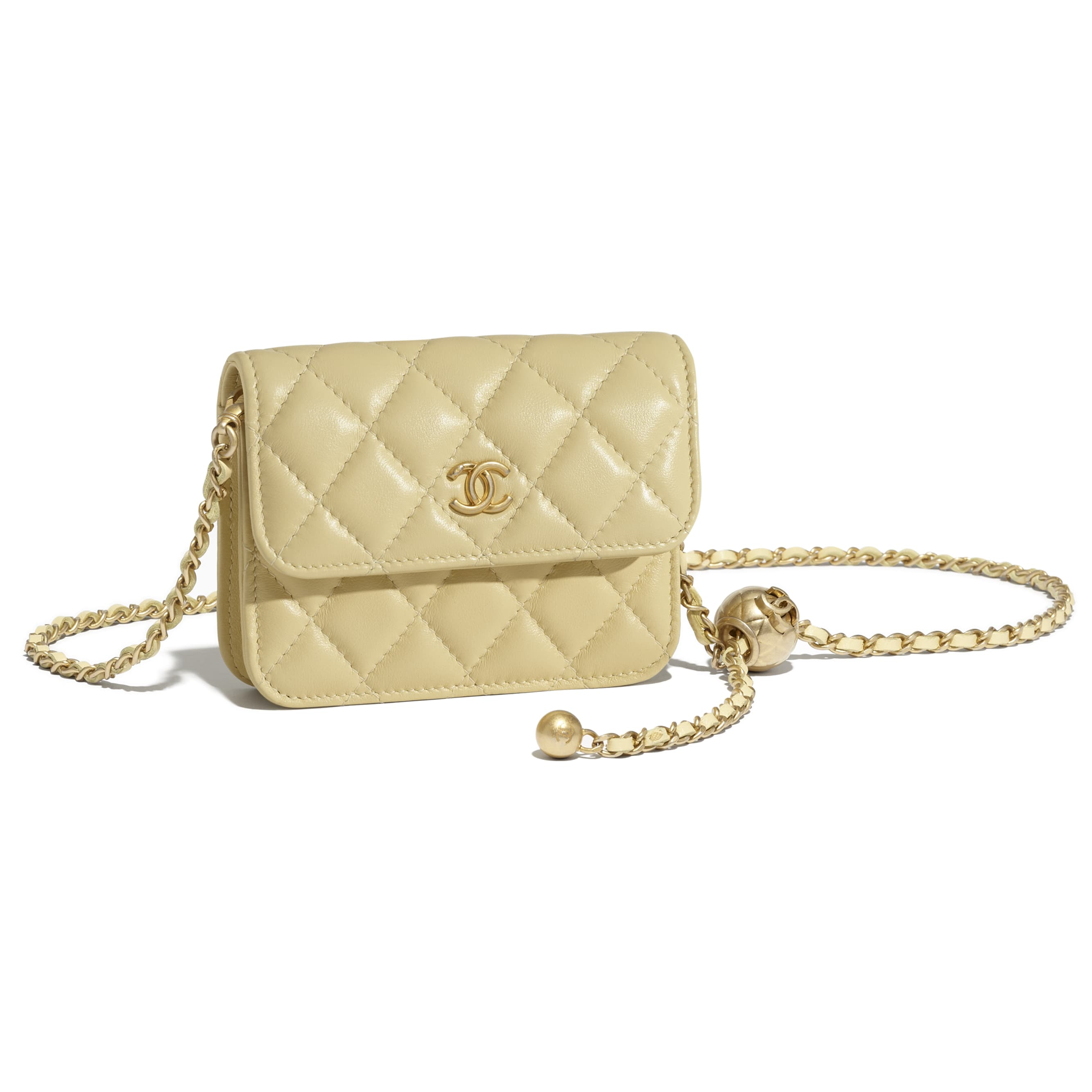 Clutch With Chain - Yellow - Lambskin - CHANEL - Other view - see standard sized version